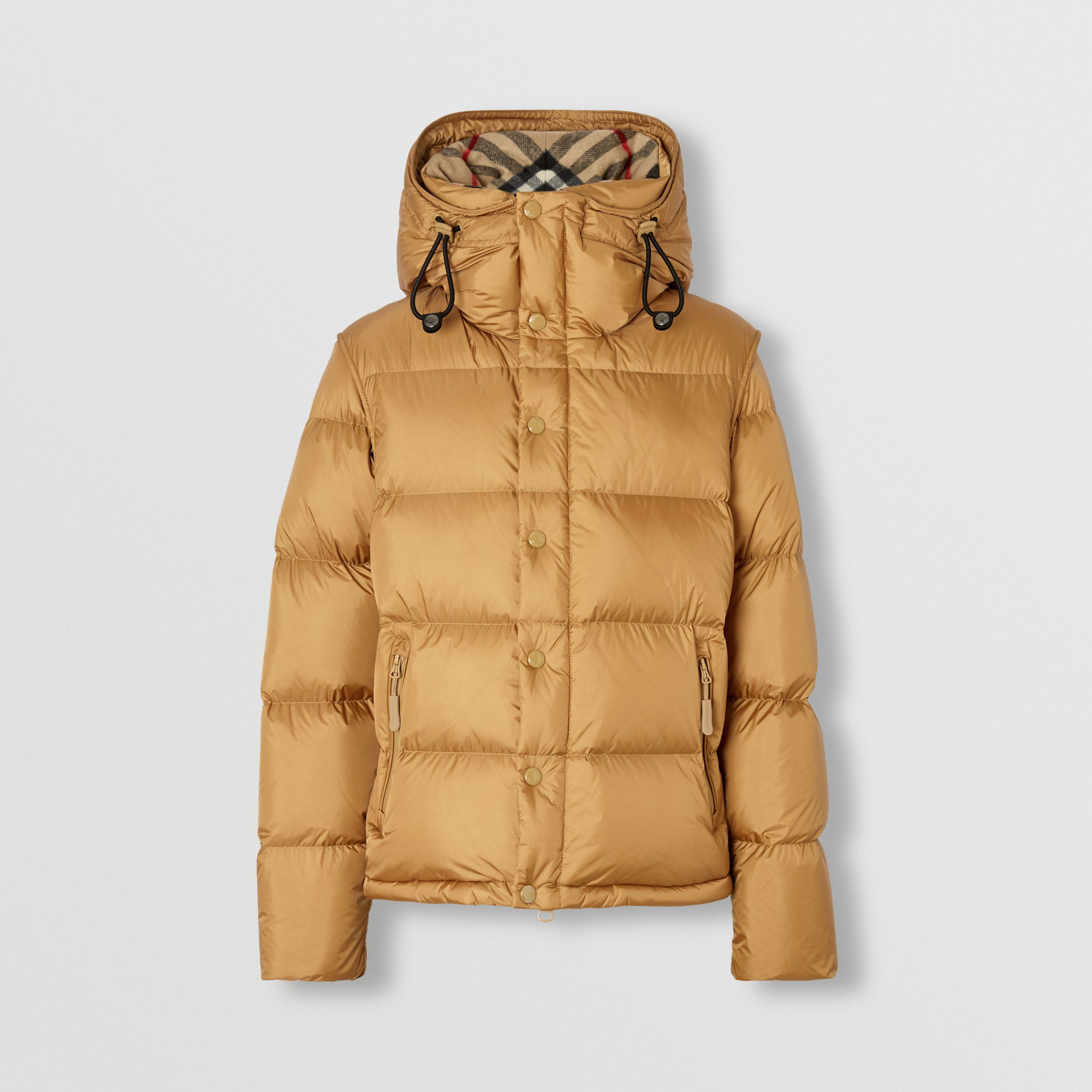 Detachable Sleeve Hooded Puffer Jacket in Warm Honey - Men | Burberry - 4