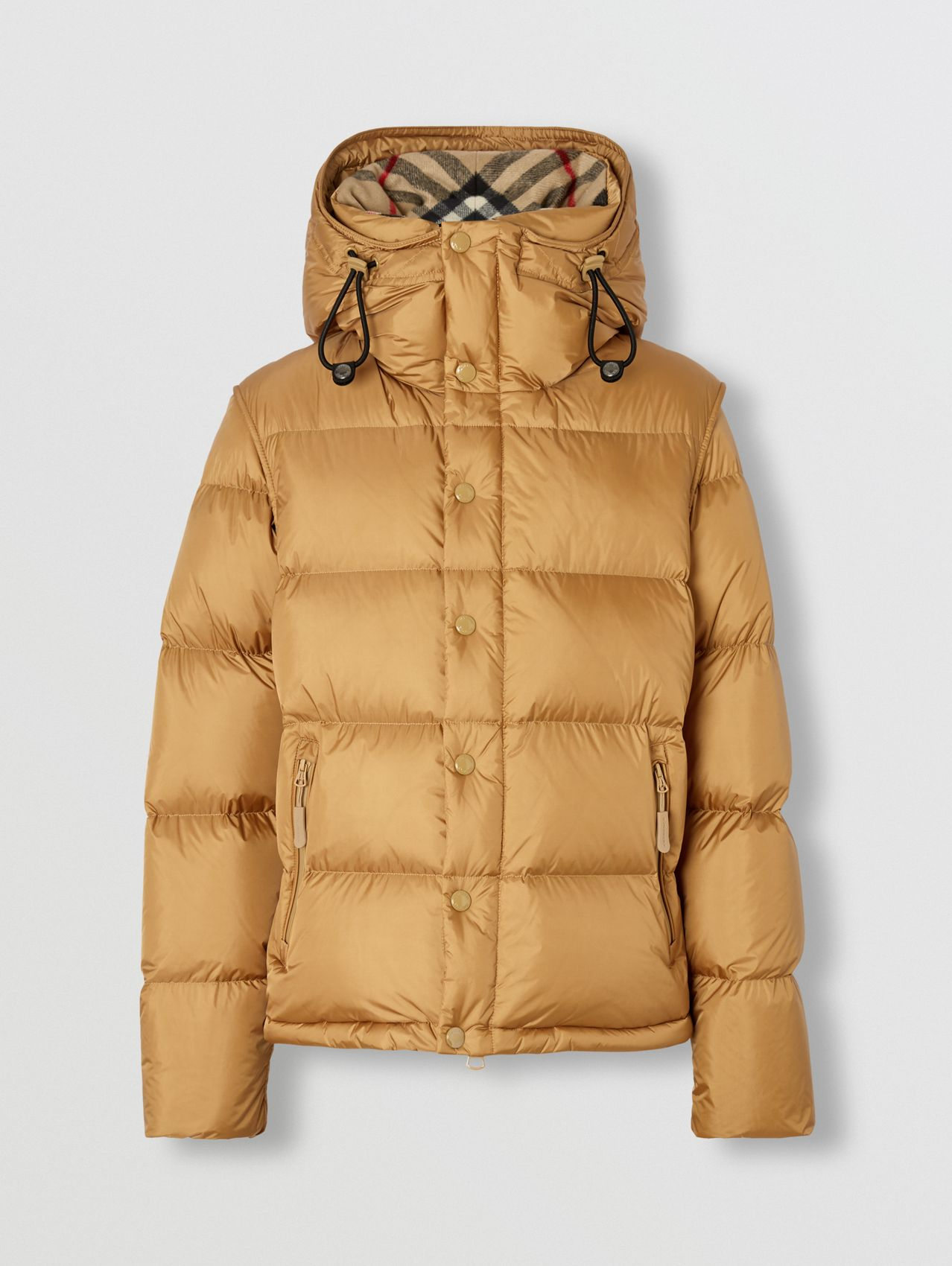Detachable Sleeve Hooded Puffer Jacket in Warm Honey