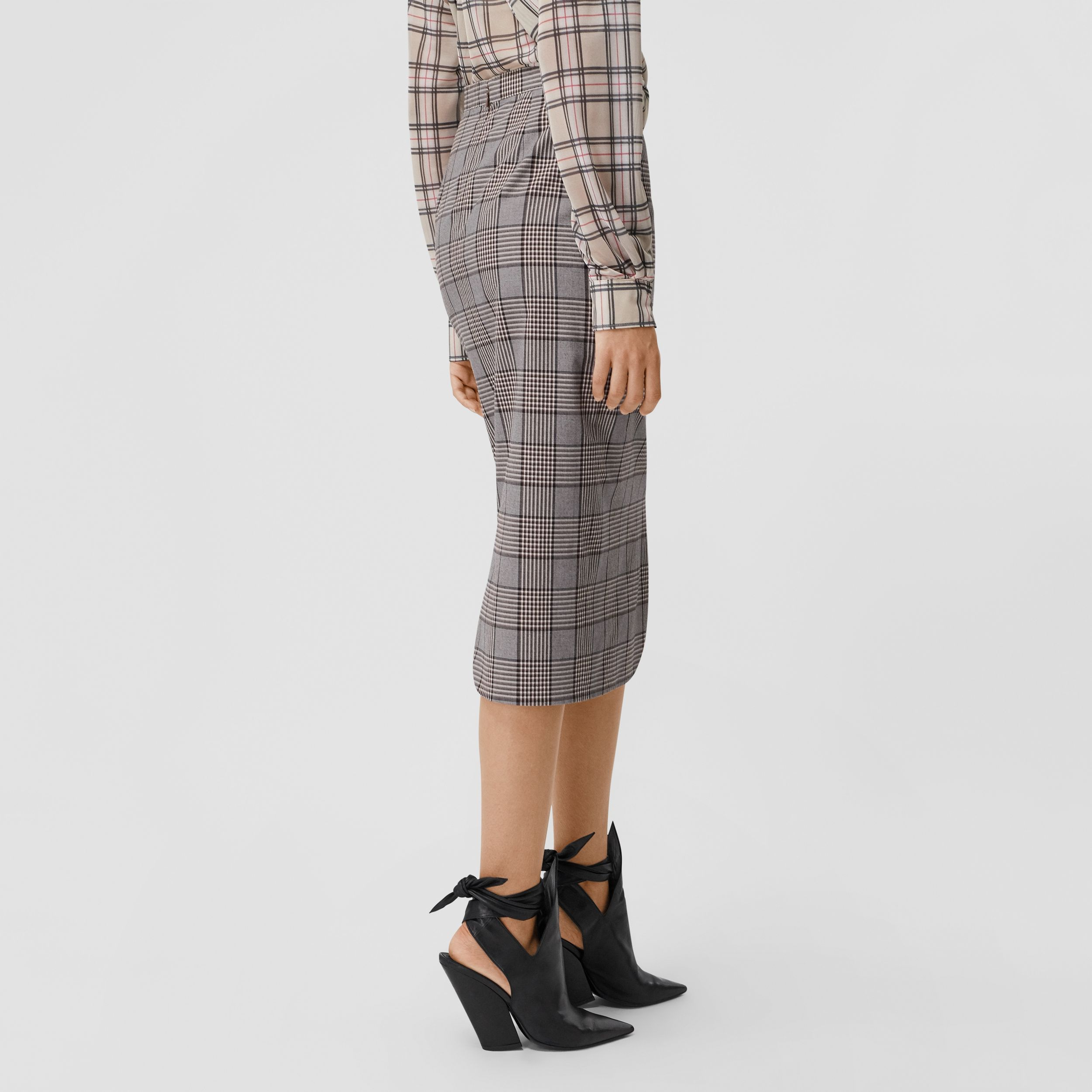 Check Wool Pencil Skirt in Deep Taupe - Women | Burberry - 3