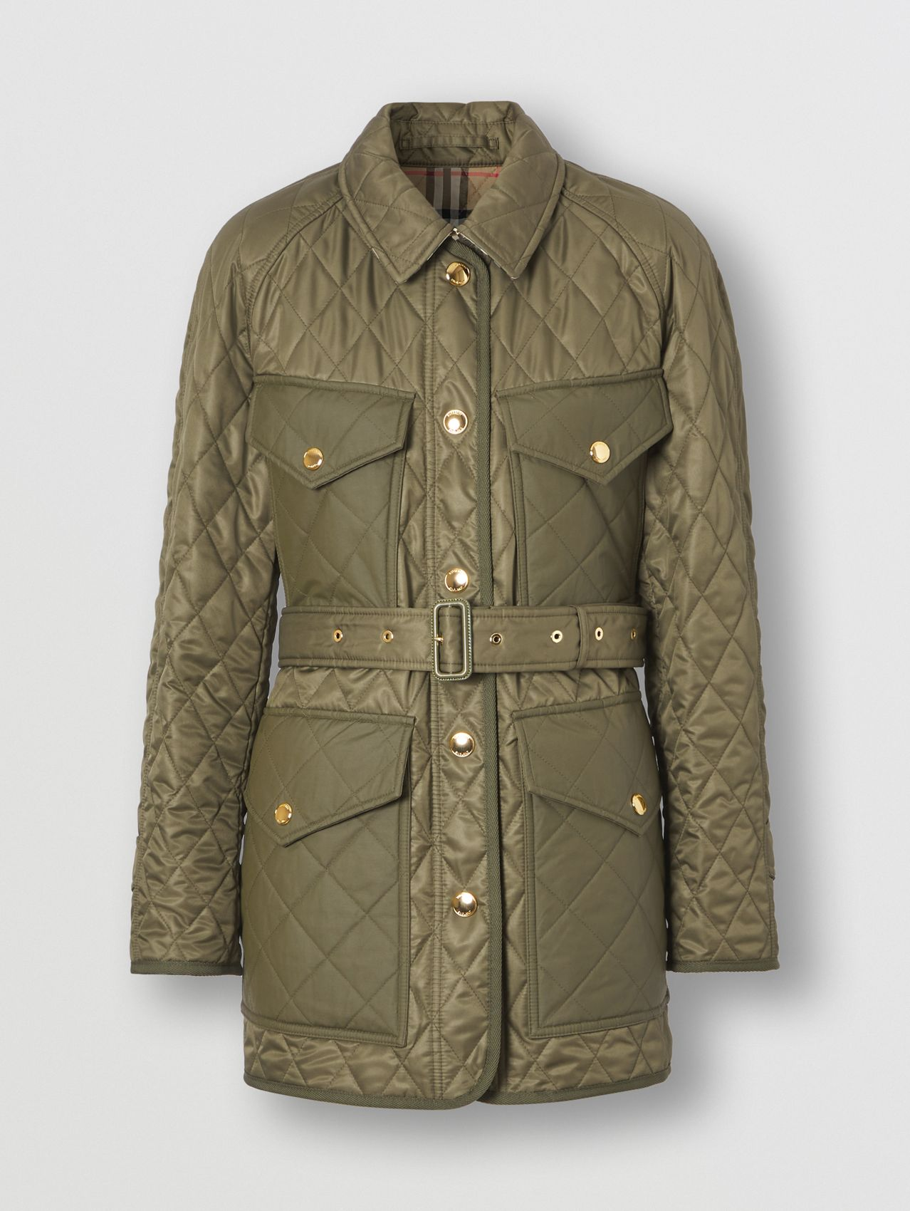 Diamond Quilted Field Jacket in Dark Fern Green