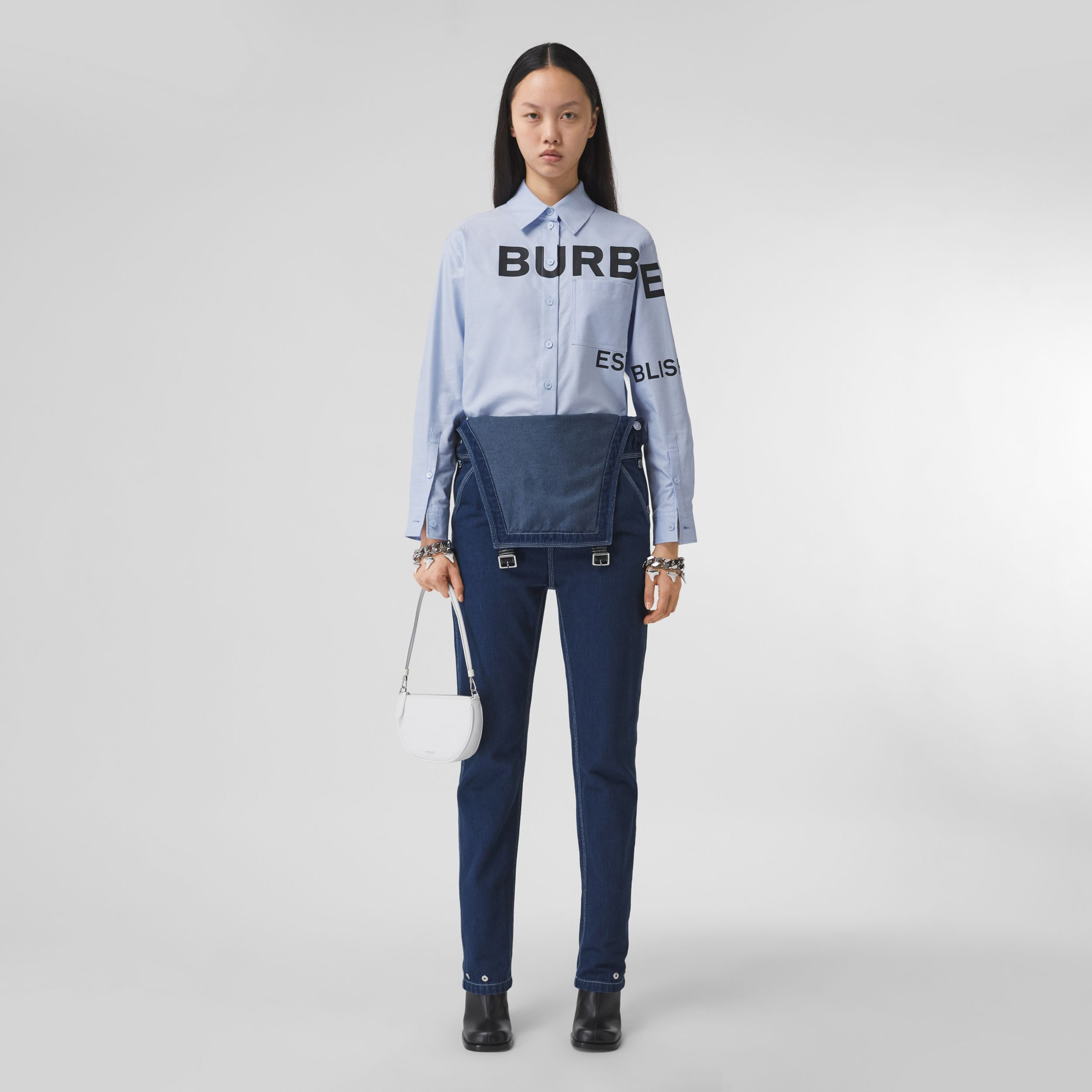 Horseferry Print Cotton Oxford Oversized Shirt in Pale Blue - Women | Burberry Hong Kong S.A.R. - 1