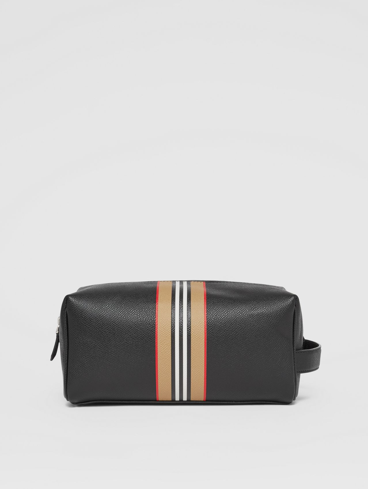 Logo and Icon Stripe Print Leather Travel Pouch in Black