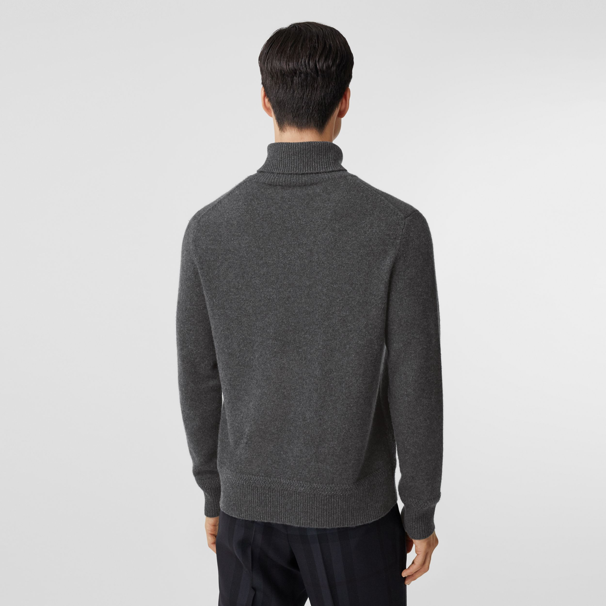 Monogram Motif Cashmere Roll-neck Sweater in Charcoal - Men | Burberry Australia - 3