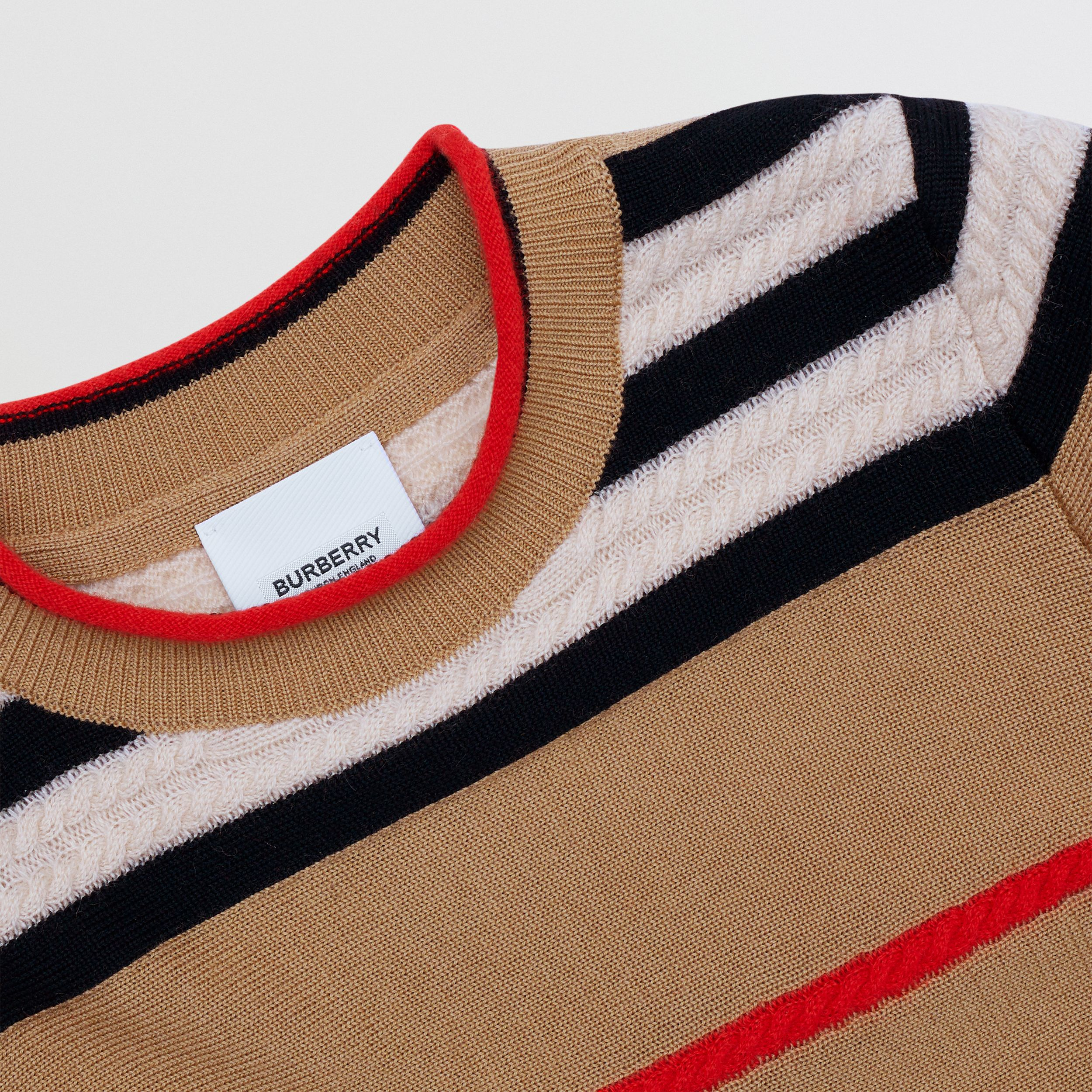 Icon Stripe Wool Cashmere Sweater Dress in Archive Beige | Burberry Australia - 2