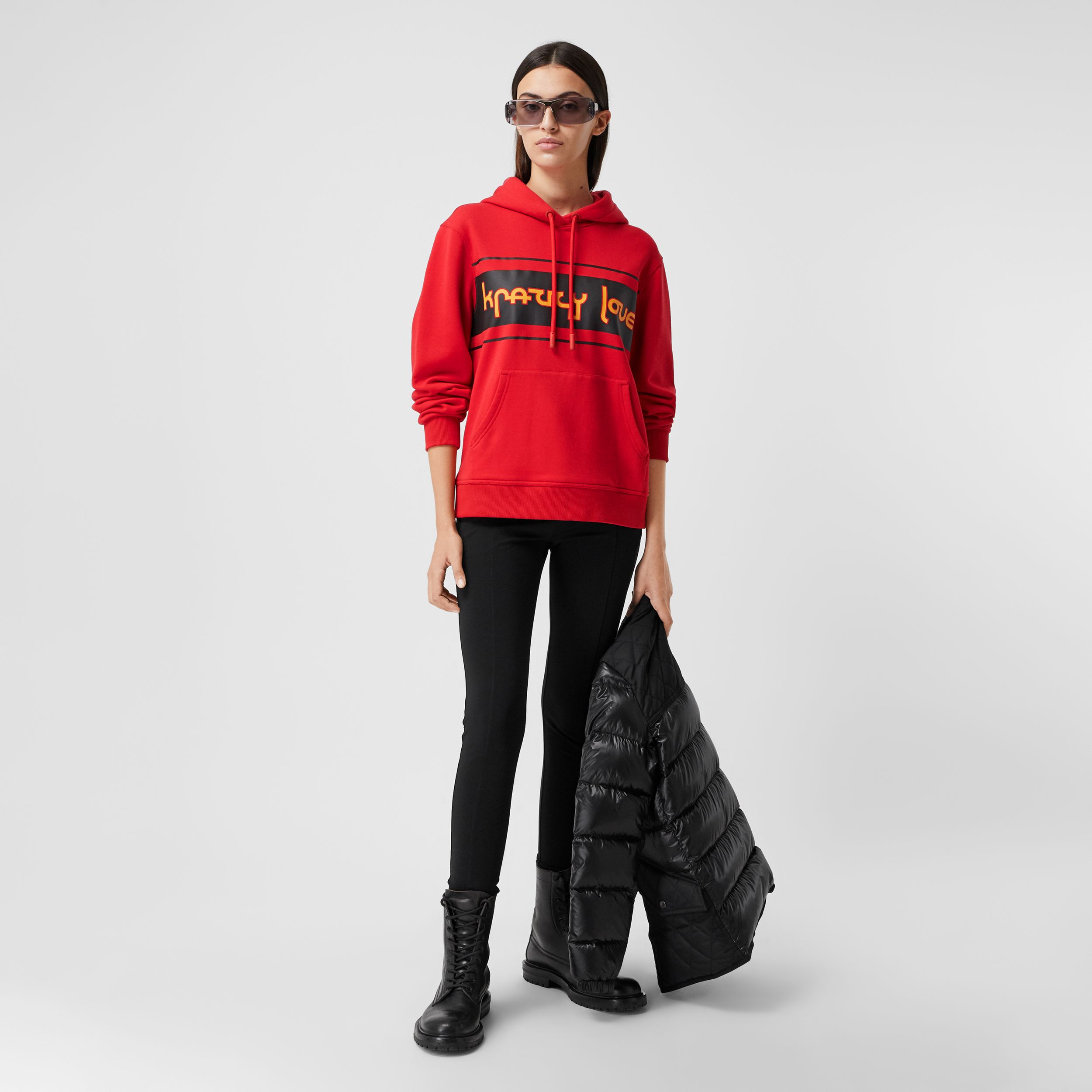 Slogan Print Cotton Oversized Hoodie in Bright Red - Women | Burberry - 1