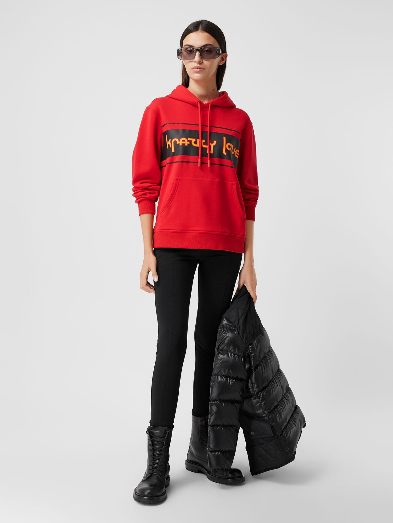 Slogan Print Cotton Oversized Hoodie in Bright Red