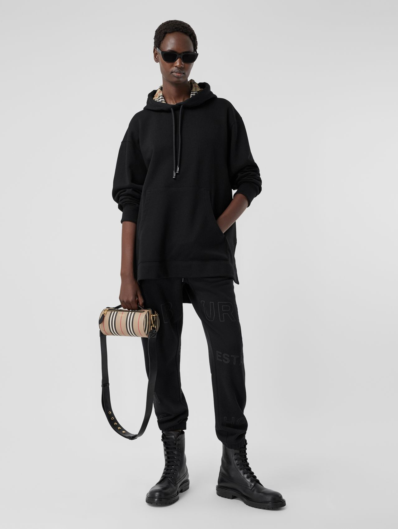 Stepped Hem Cotton Oversized Hoodie in Black
