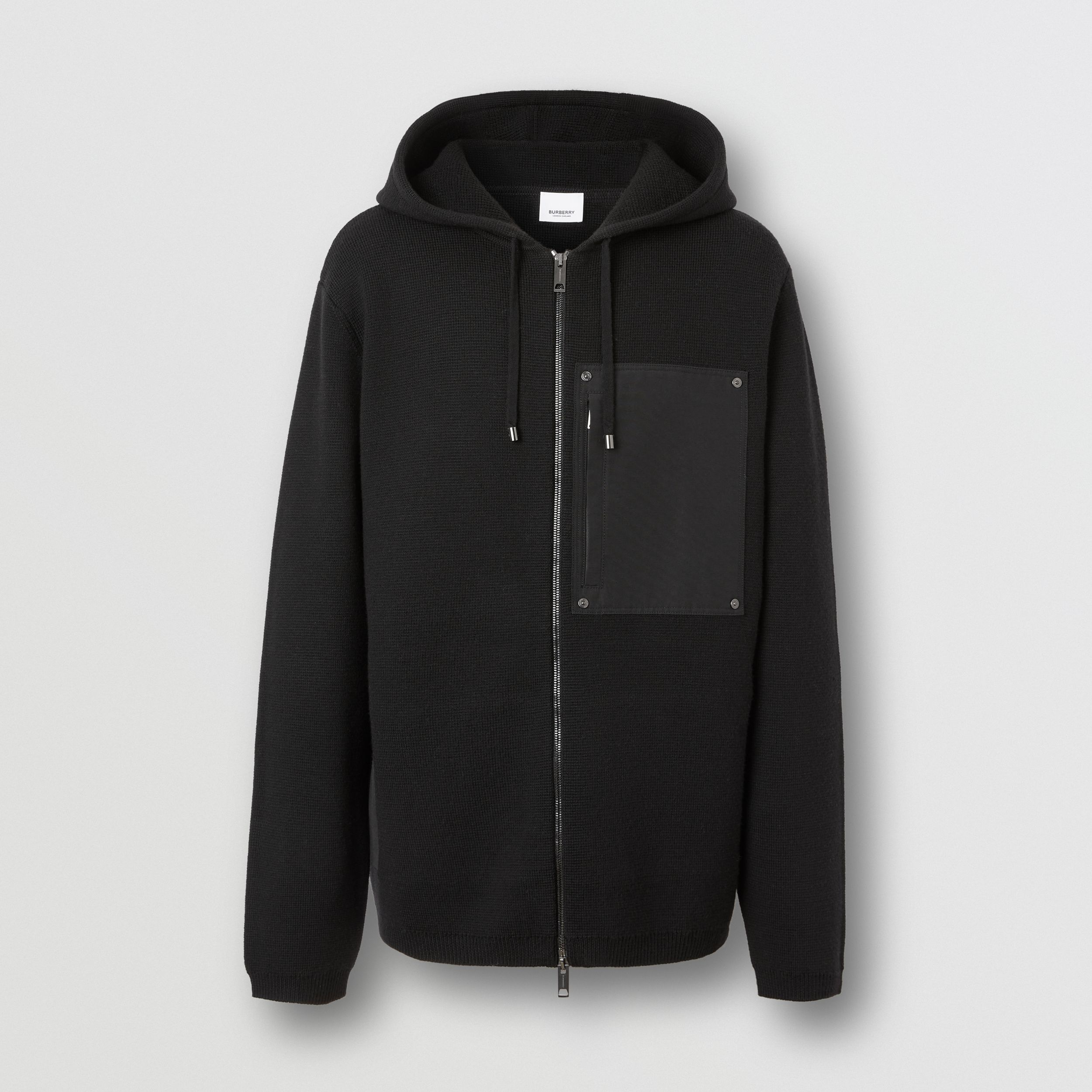 Contrast Pocket Wool Hooded Top in Black - Men | Burberry - 4