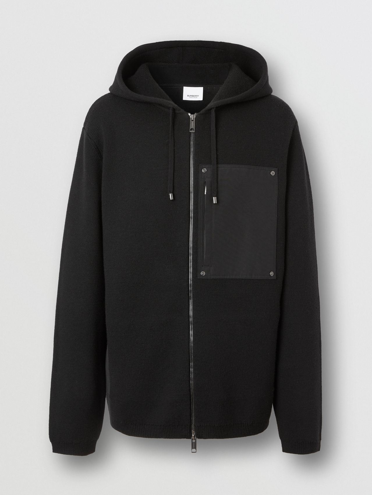 Contrast Pocket Wool Hooded Top in Black