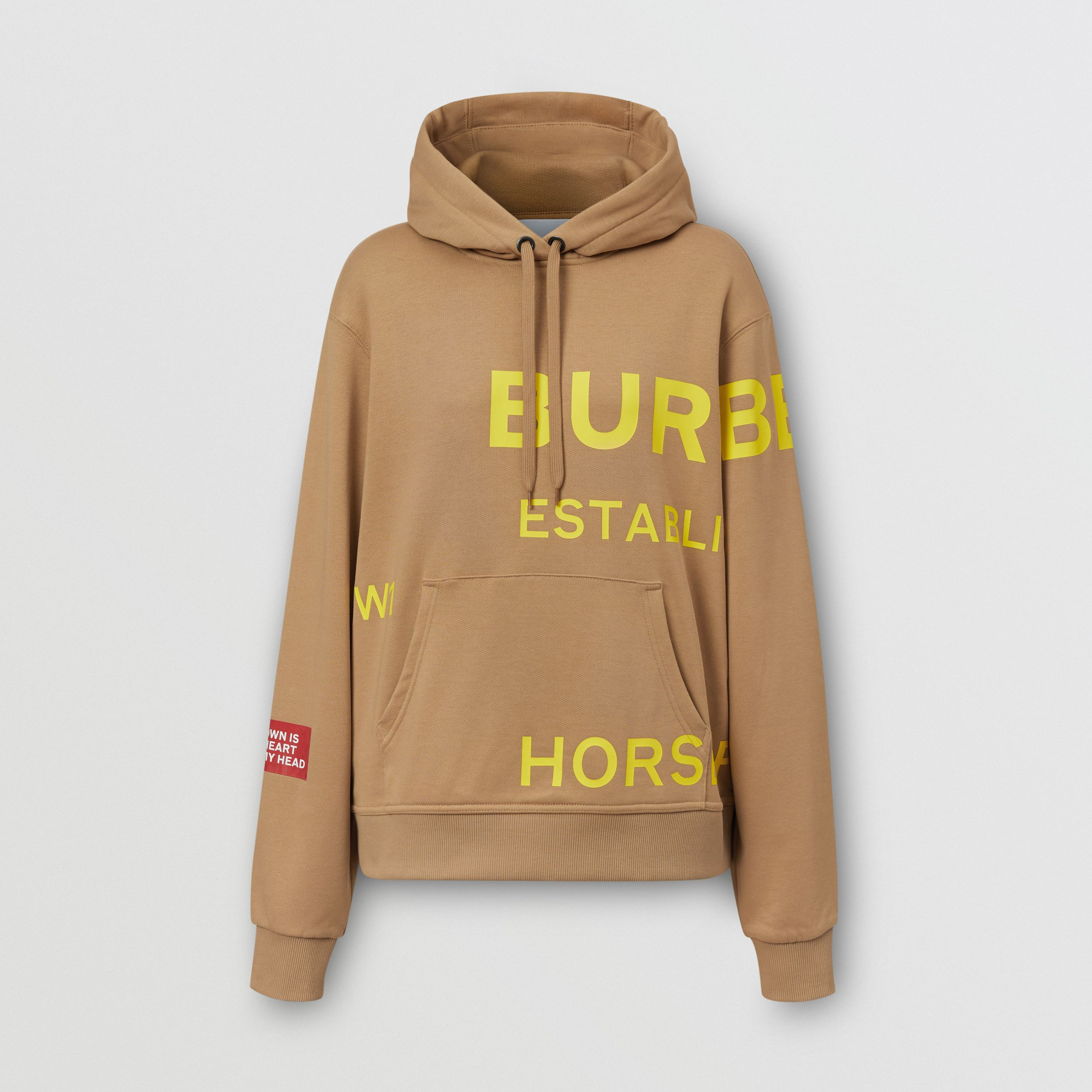 Horseferry Print Cotton Oversized Hoodie in Archive Beige - Women | Burberry - 4
