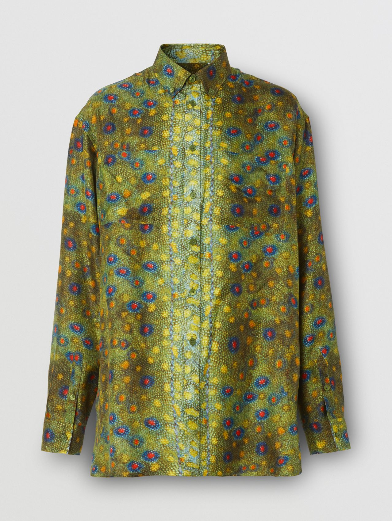 Fish-scale Print Silk Shirt in Olive