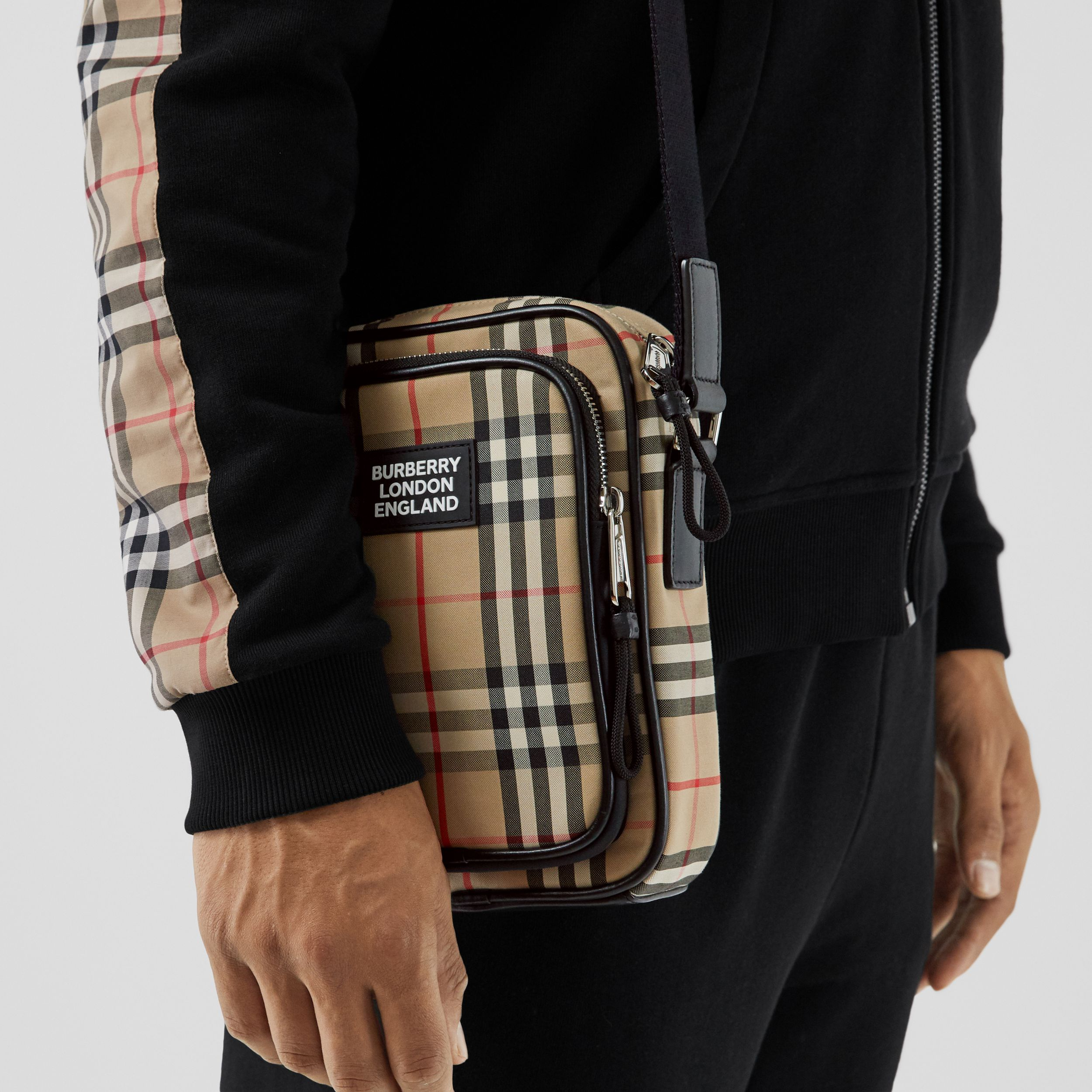 Vintage Check and Leather Crossbody Bag in Archive Beige - Men | Burberry - 3