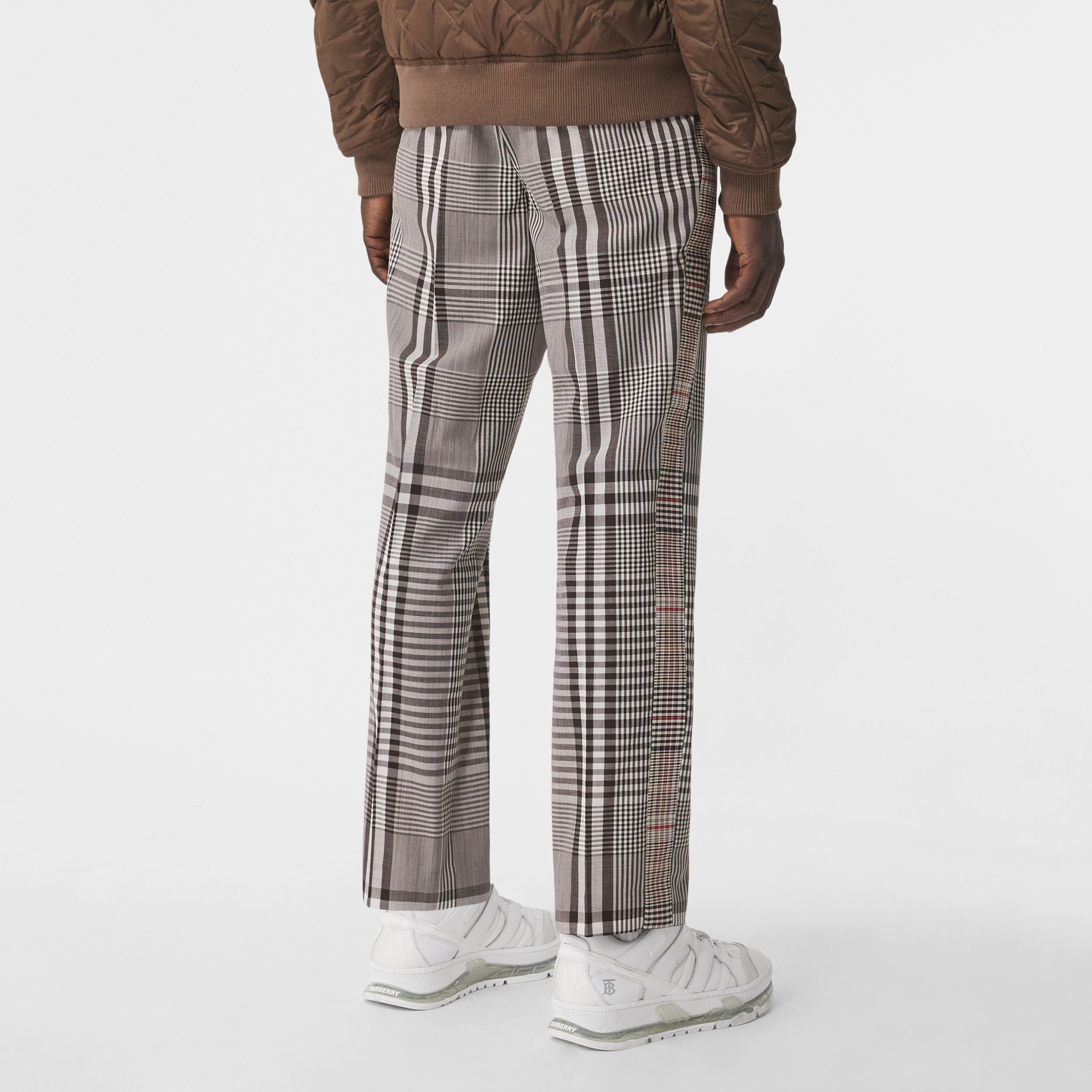 Check Technical Wool Tailored Trousers in Dark Brown | Burberry - 3