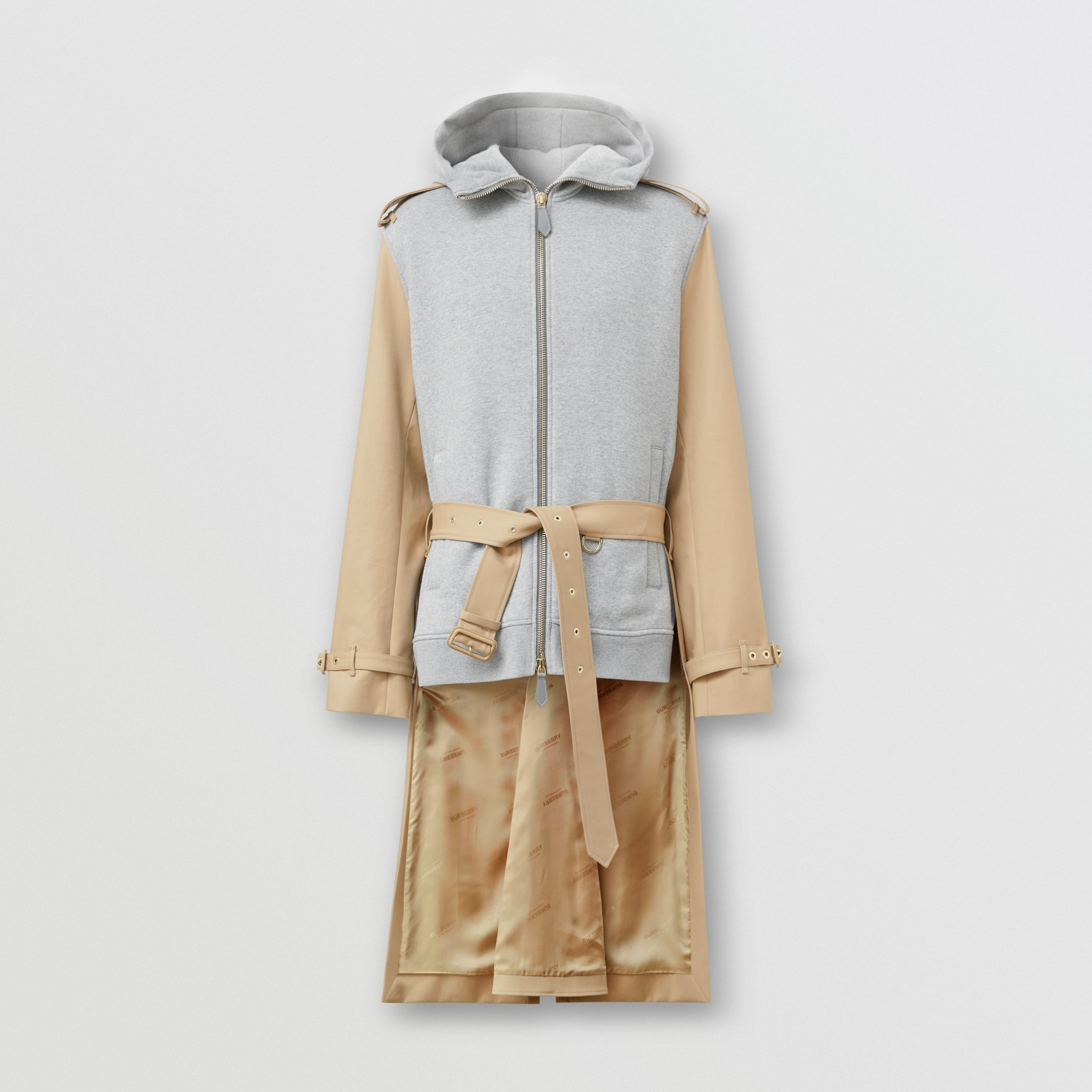 Cotton and Jersey Reconstructed Trench Coat in Soft Fawn | Burberry - 4