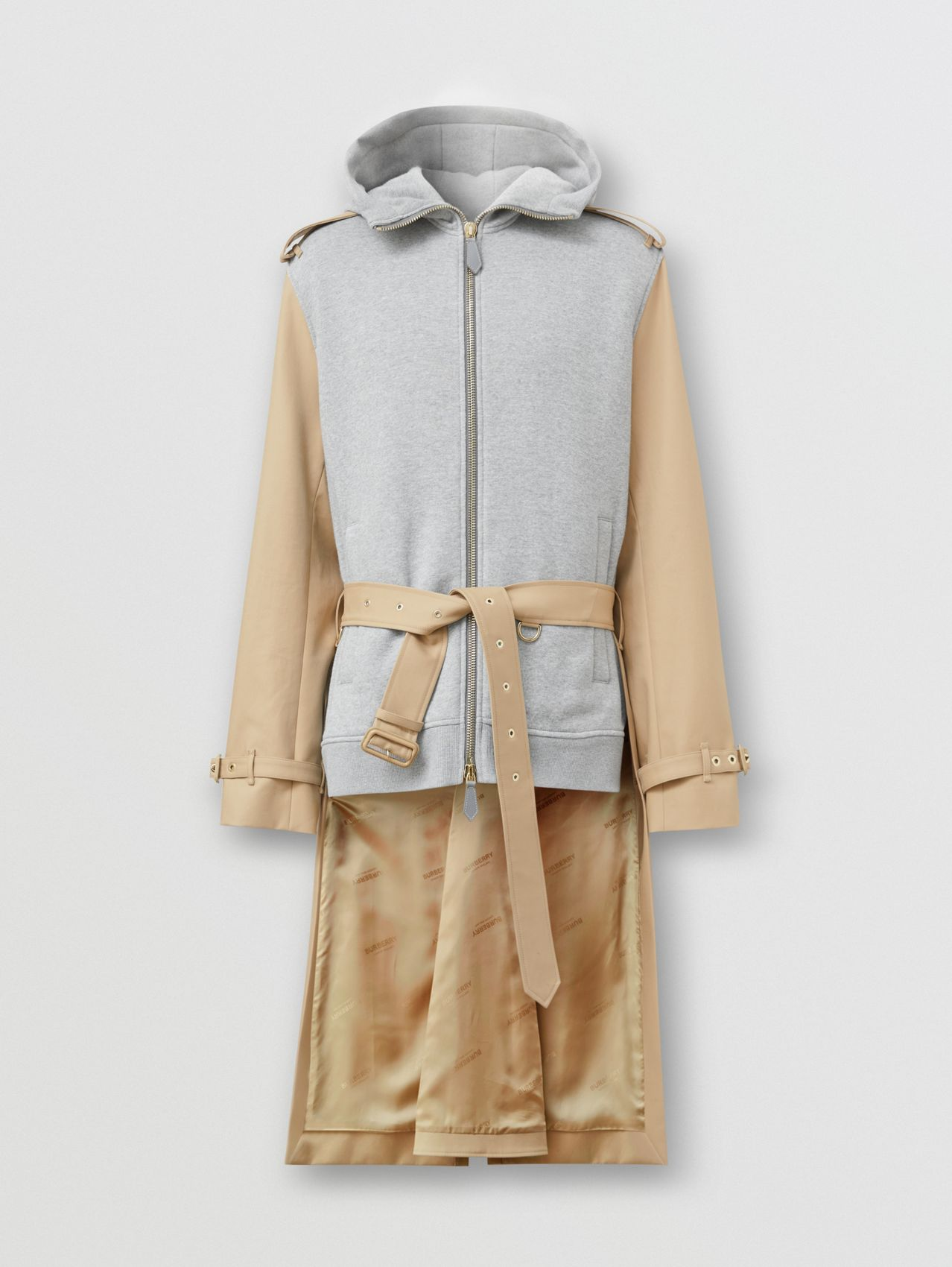 Cotton and Jersey Reconstructed Trench Coat in Soft Fawn