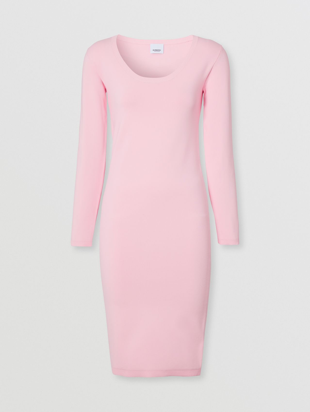 Long-sleeve Monogram Motif Stretch Jersey Dress in Orchid Pink