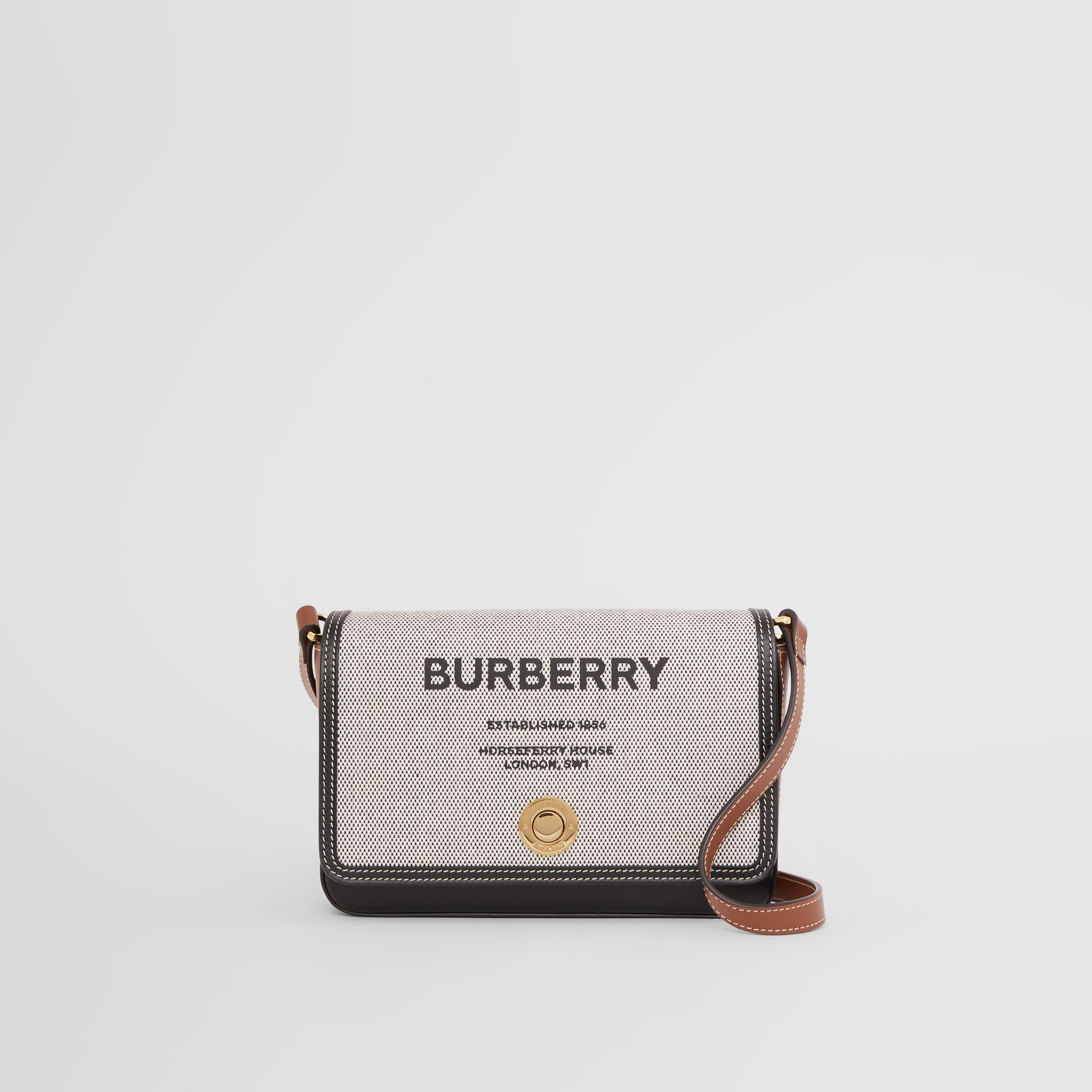 Horseferry Print Canvas and Leather Crossbody Bag in Black/tan - Women | Burberry - 1