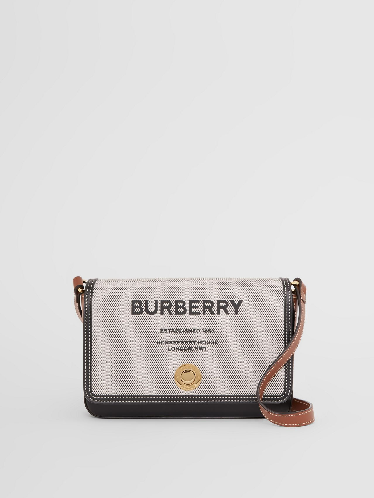 Horseferry Print Canvas and Leather Crossbody Bag in Black/tan