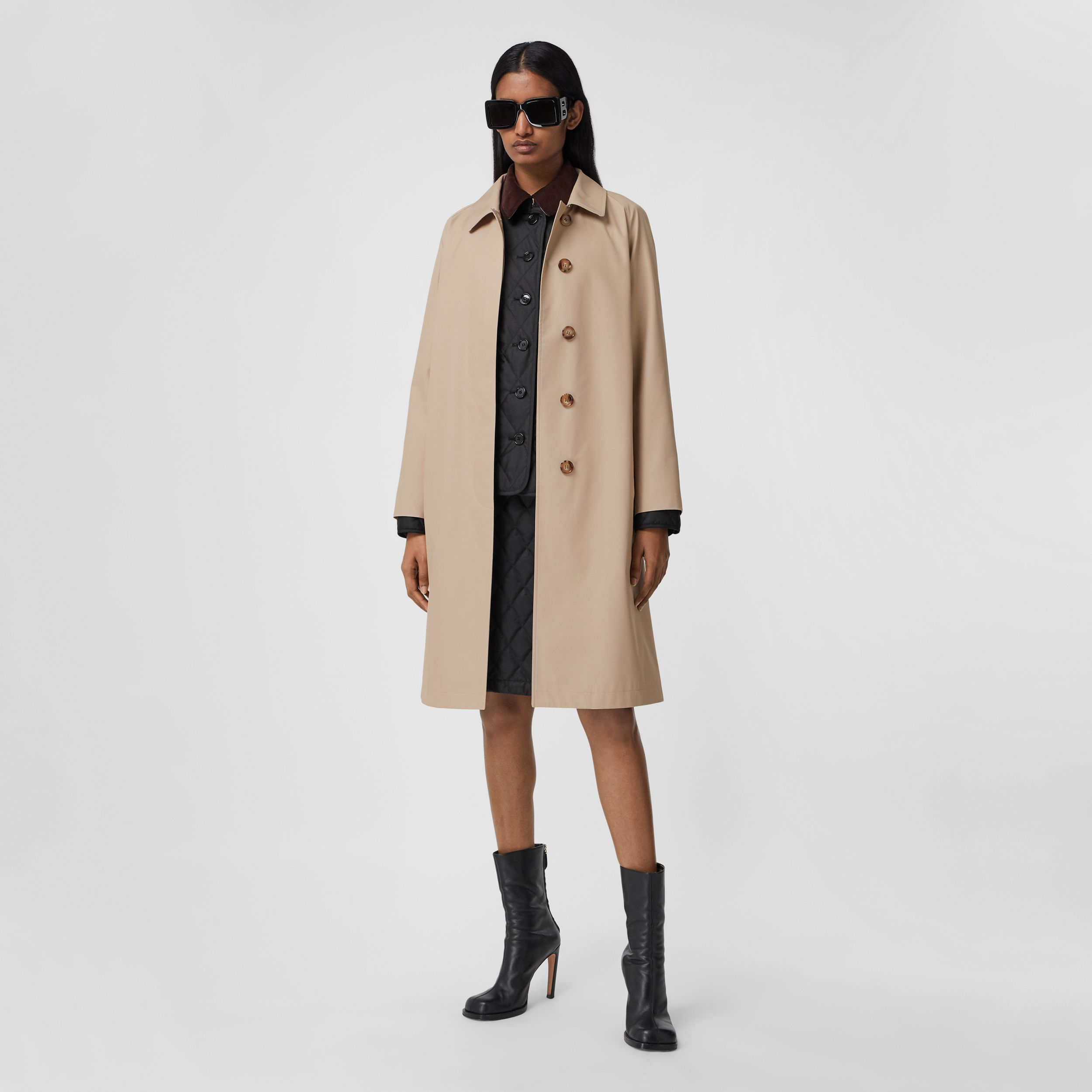 Technical Cotton Car Coat in Soft Fawn - Women | Burberry United States - 1