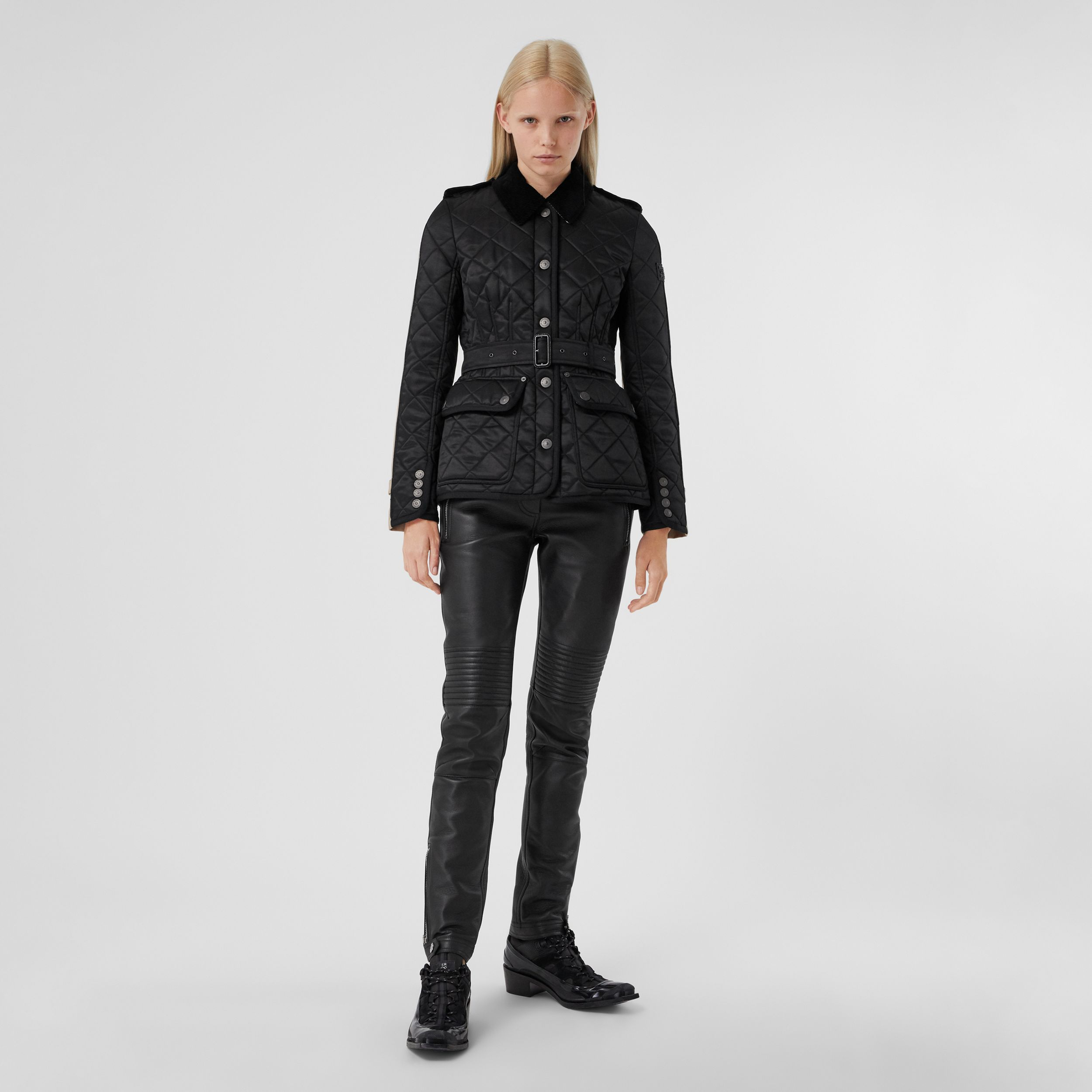 Cotton Gabardine Panel Diamond Quilted Jacket in Black | Burberry - 1