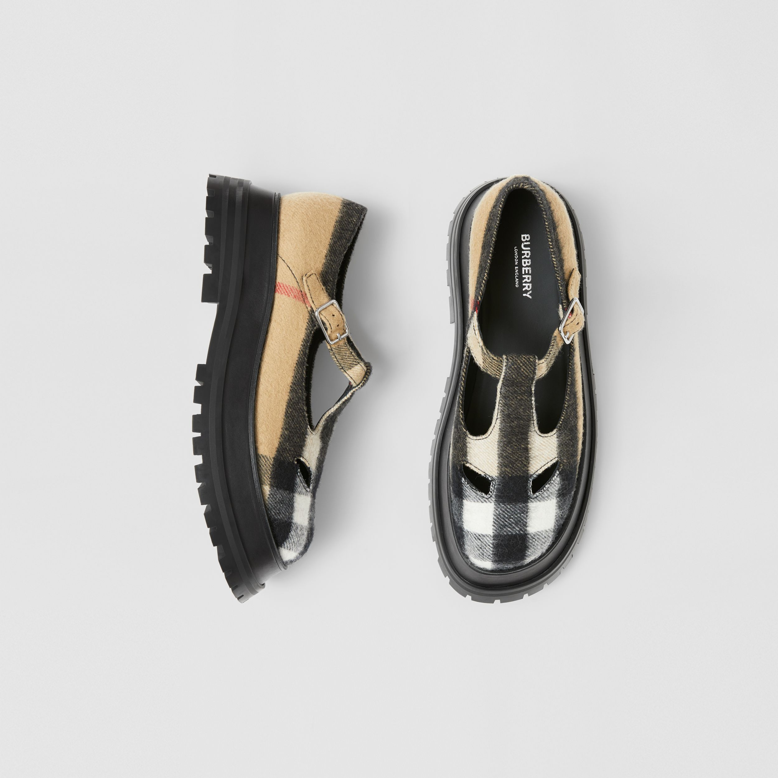 Check Wool T-bar Shoes in Archive Beige - Women | Burberry United Kingdom - 1