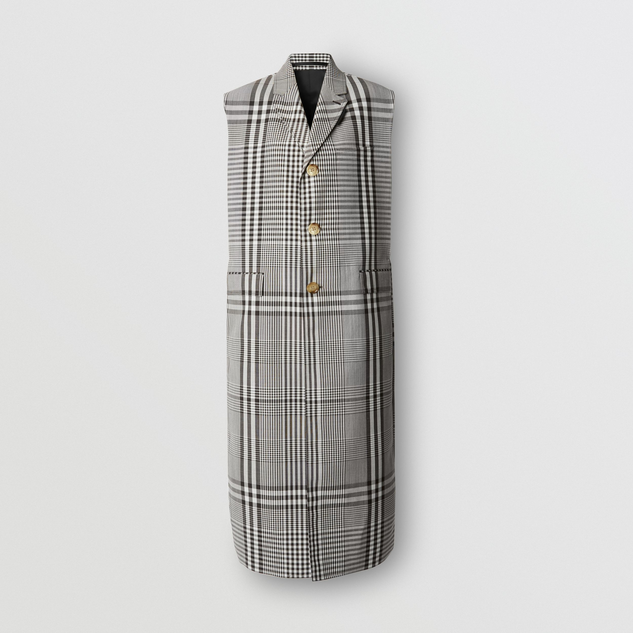 Sleeveless Check Technical Wool Coat in Dark Brown | Burberry Hong Kong S.A.R. - 4