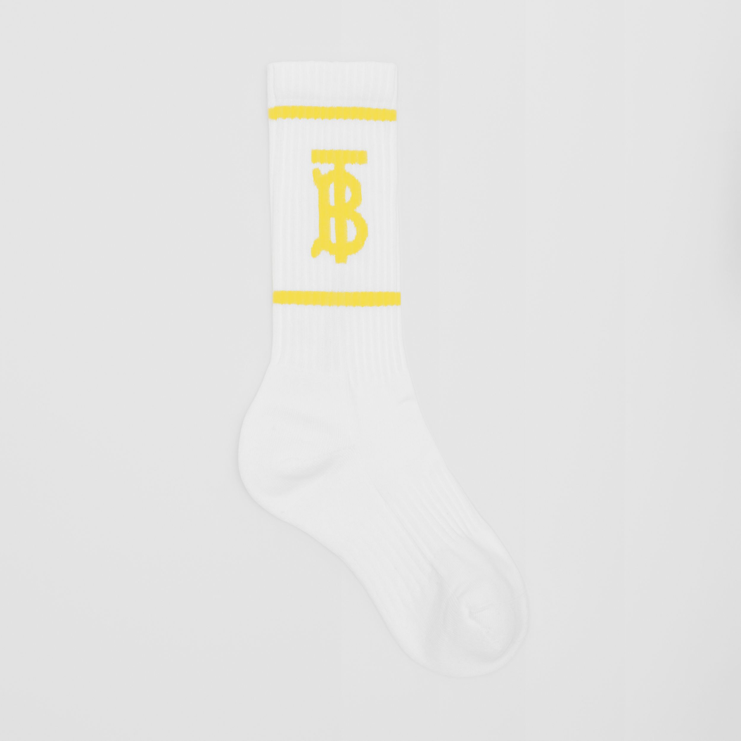 Monogram Motif Intarsia Socks in White/yellow | Burberry - 1