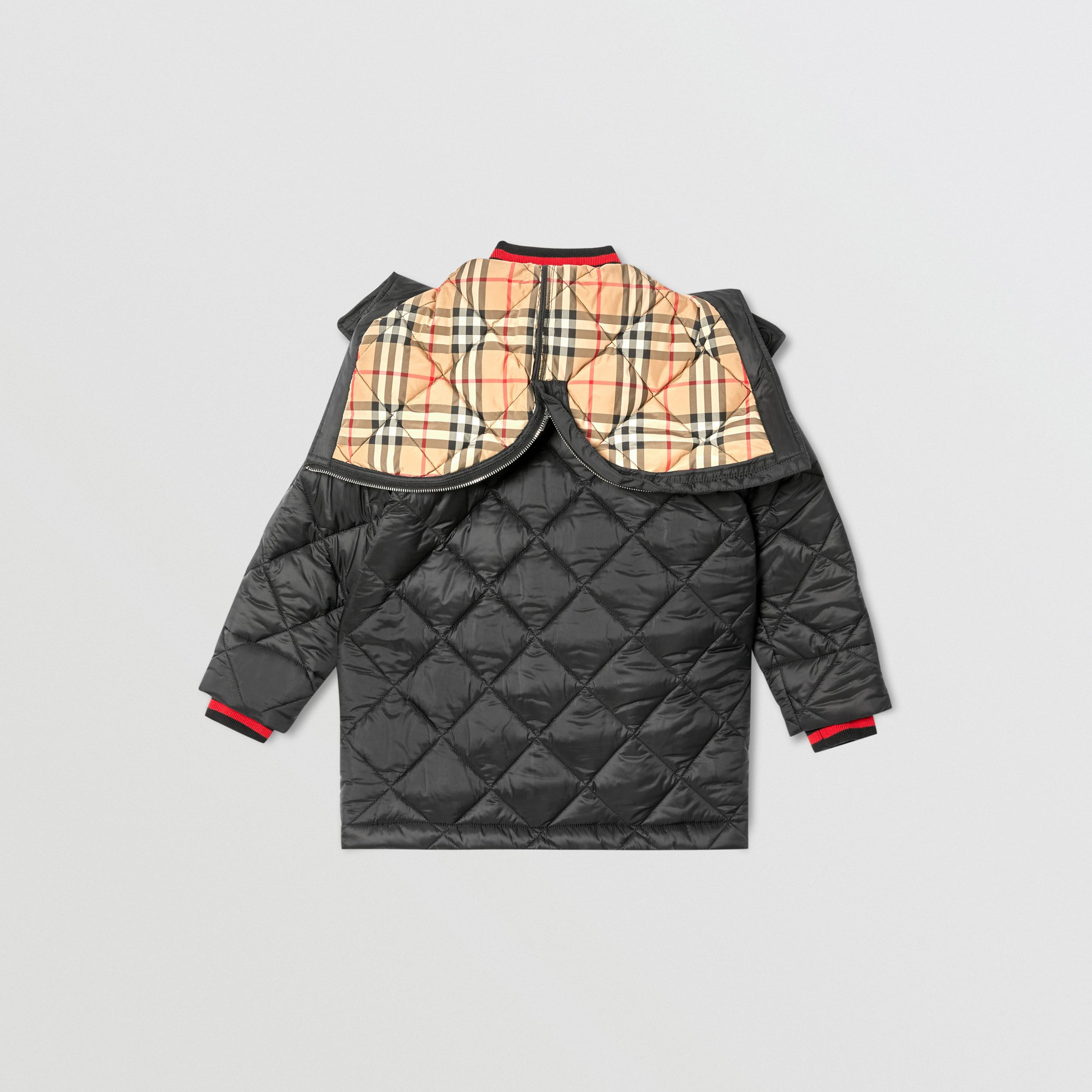 Detachable Hood Logo Detail Diamond Quilted Coat | Burberry United Kingdom - 4
