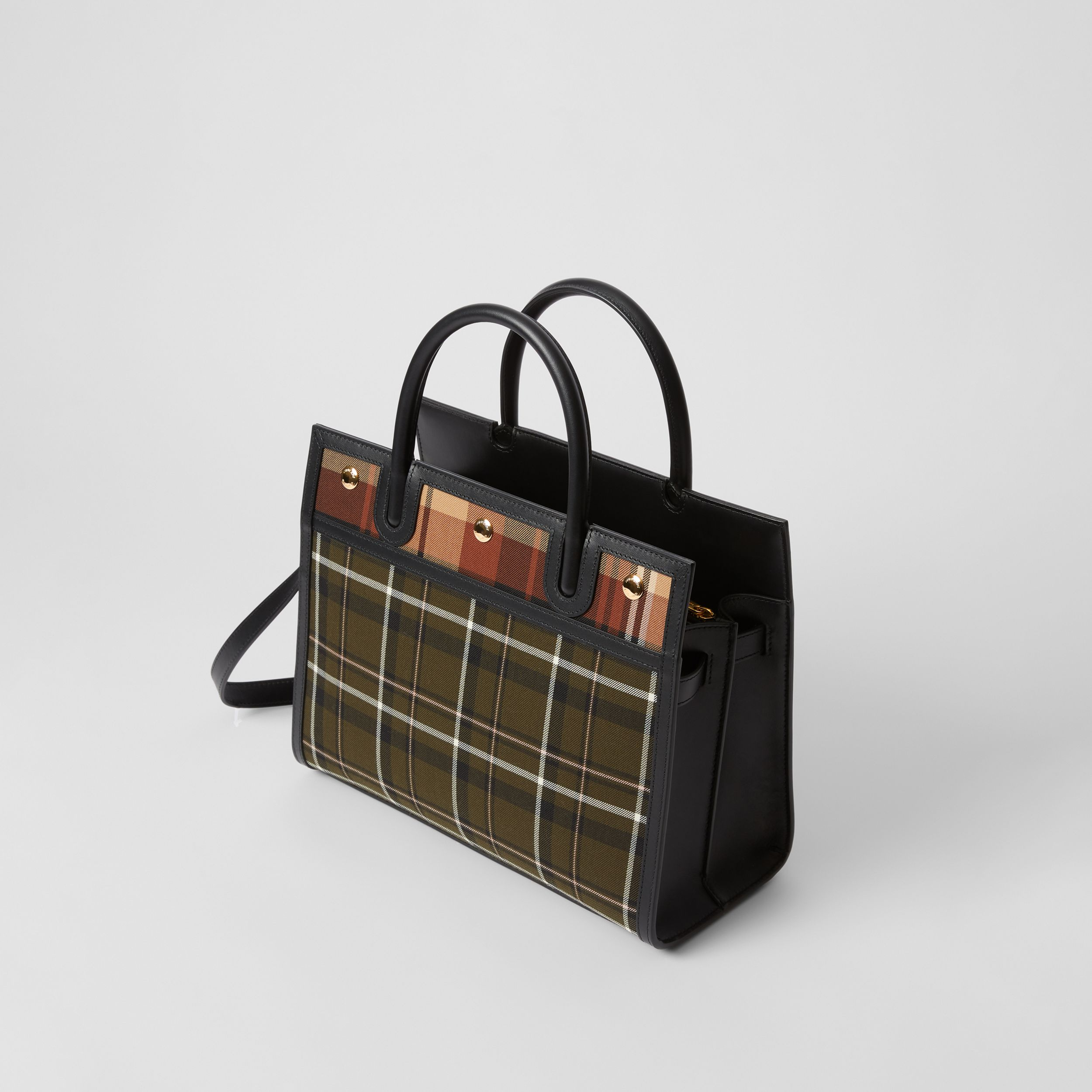 Small Tartan Wool Two-handle Title Bag in Dark Green - Women | Burberry Australia - 4