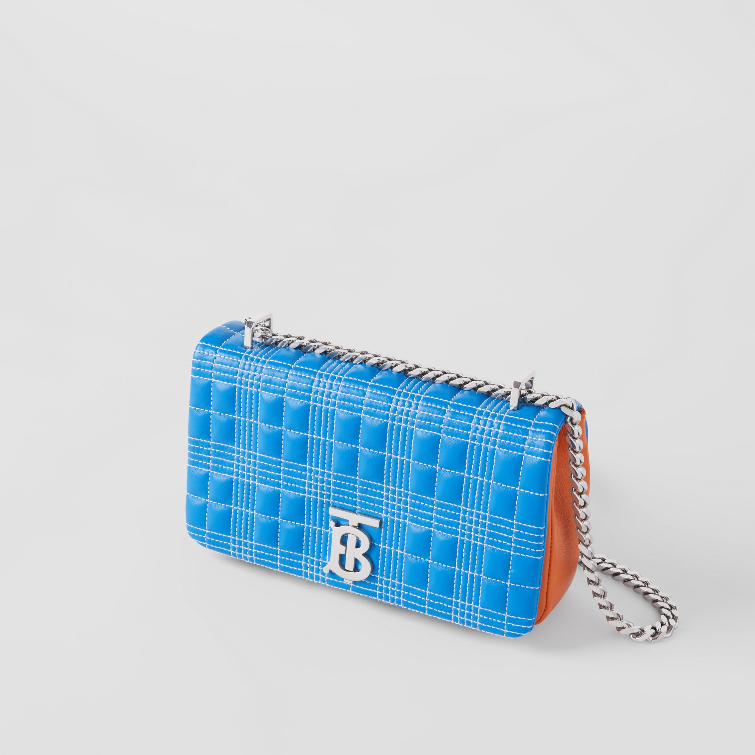 Small Quilted Tri-tone Lambskin Lola Bag in Cyan Blue/orange/pink - Women | Burberry - 4