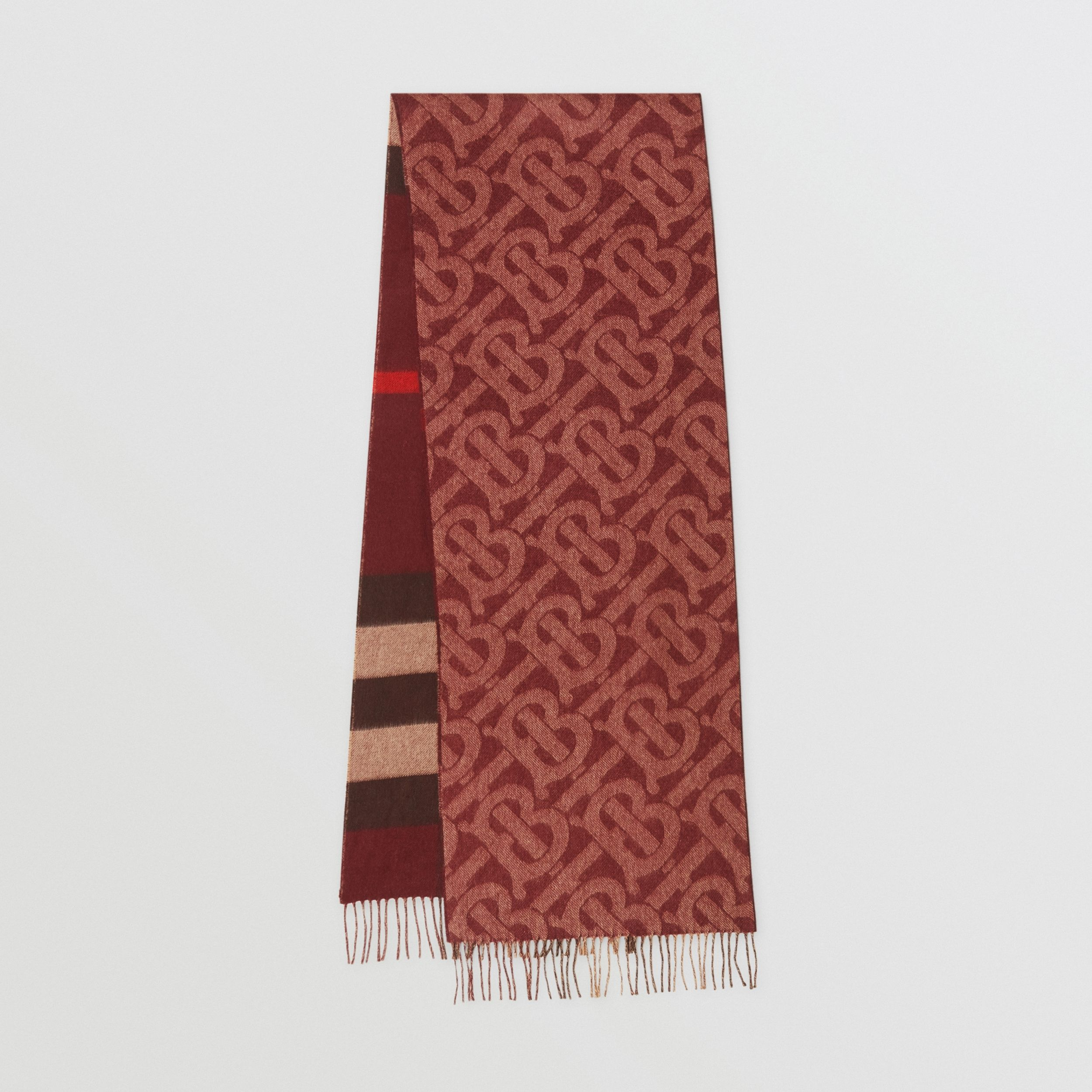 Reversible Check and Monogram Cashmere Scarf in Burgundy | Burberry - 1
