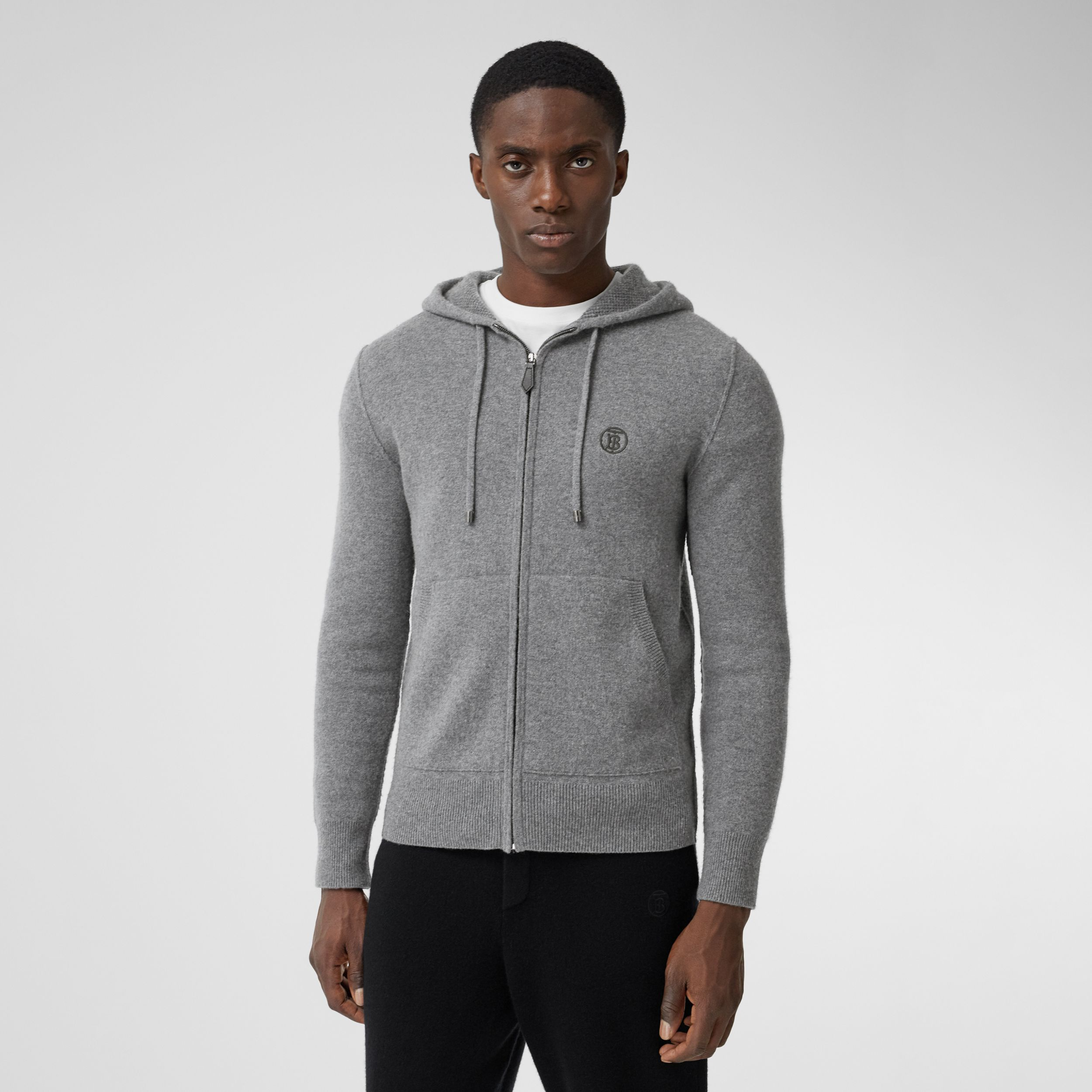 Monogram Motif Cashmere Blend Hooded Top in Mid Grey Melange - Men | Burberry Australia - 1