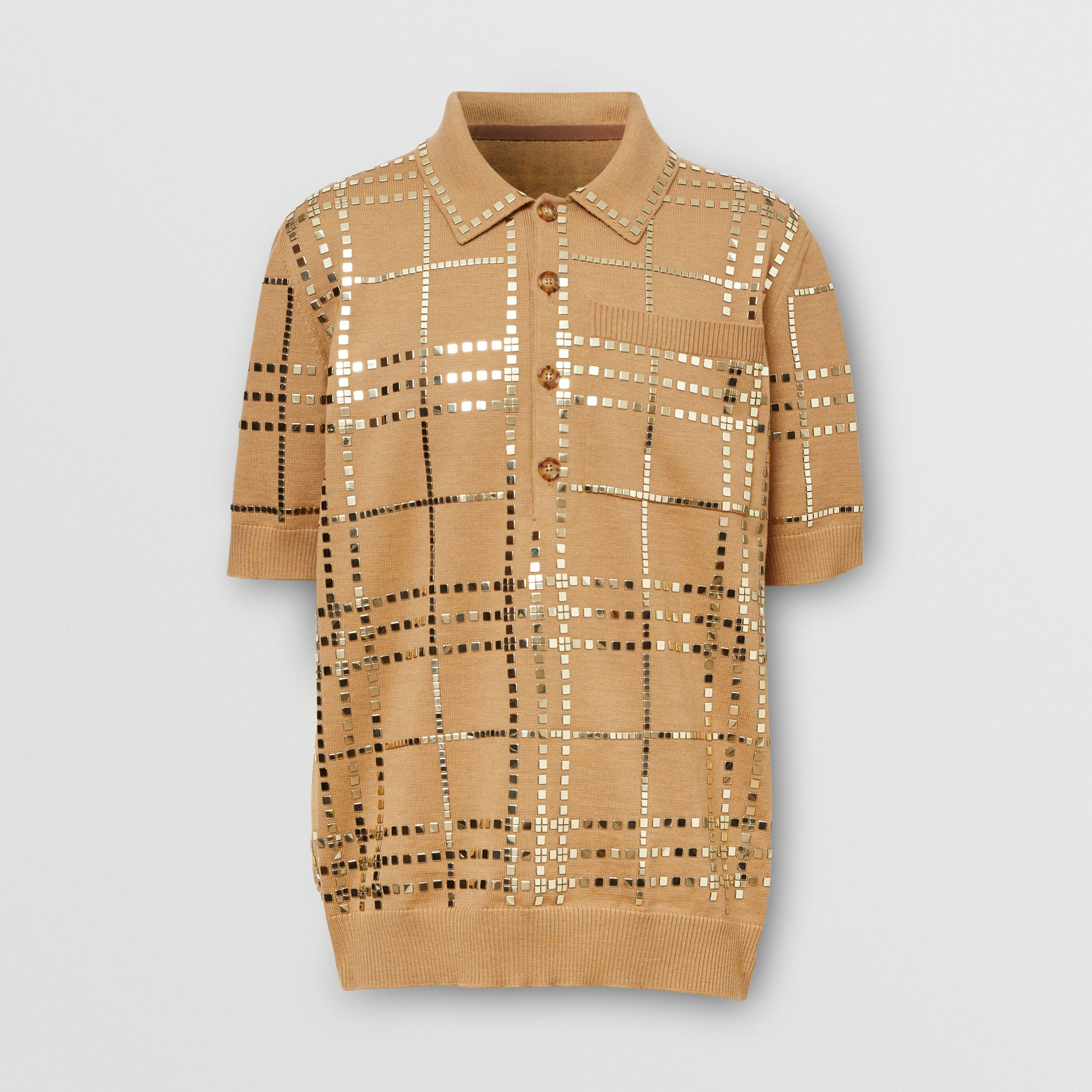 Mirrored Check Wool Jersey Polo Shirt in Camel | Burberry - 4