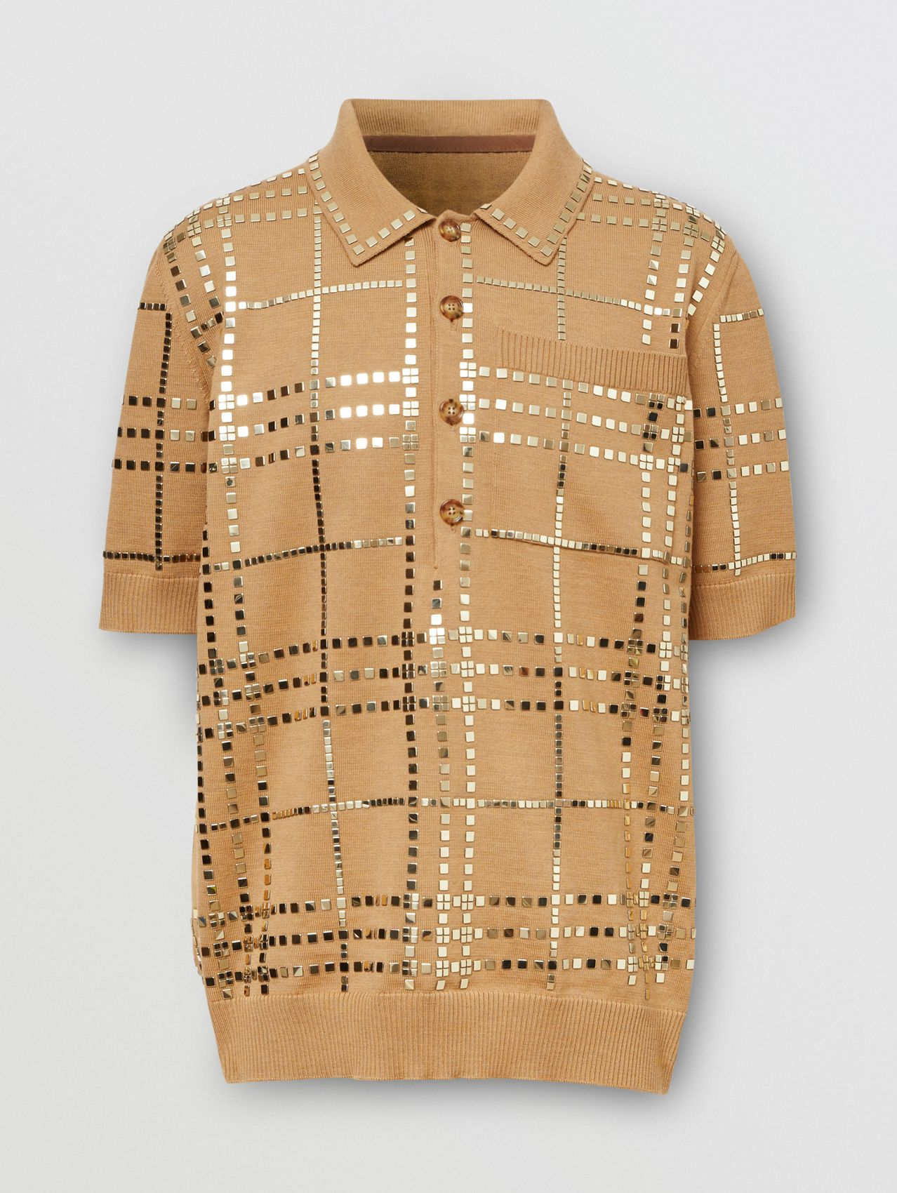 Mirrored Check Wool Jersey Polo Shirt in Camel