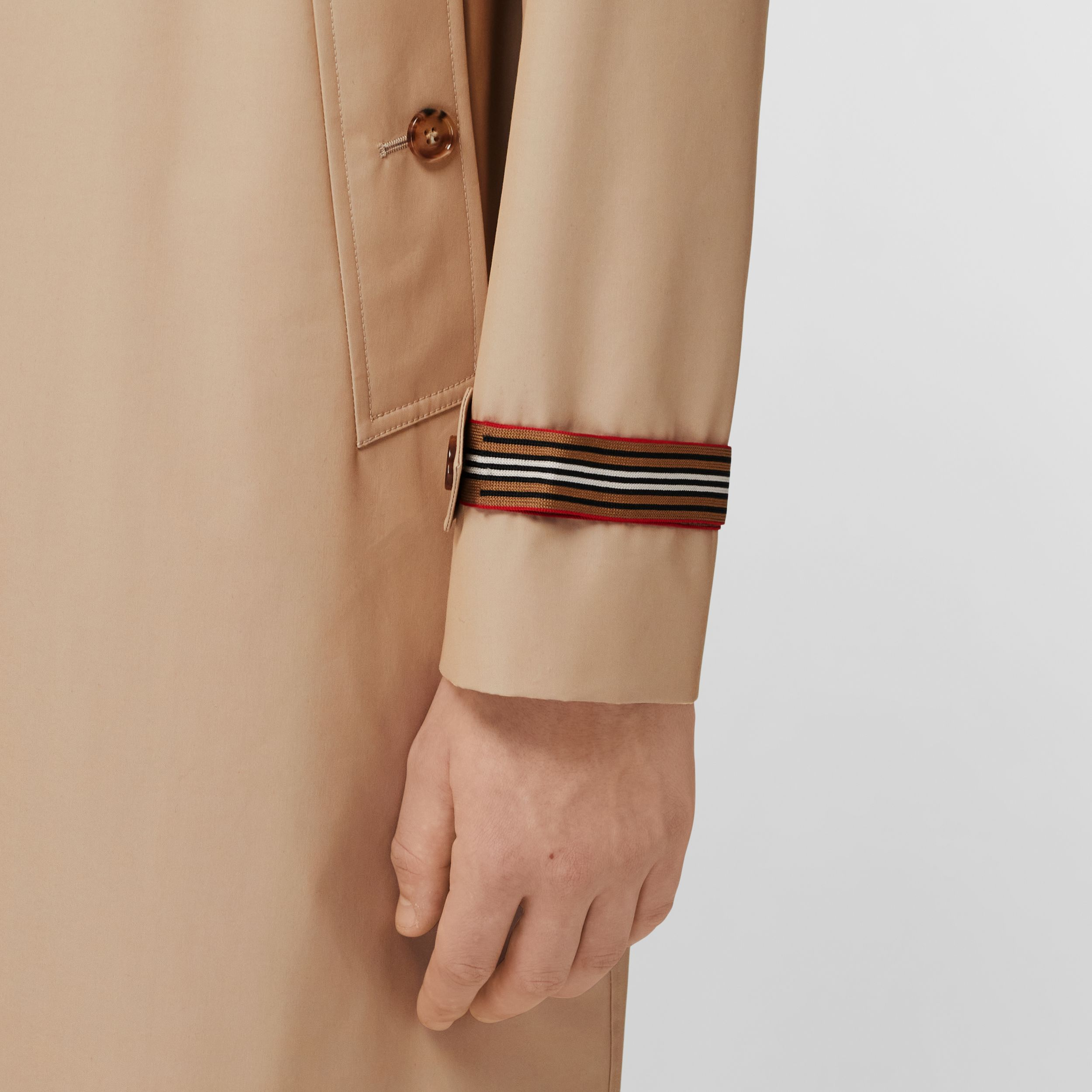 Knitted Stripe Detail Technical Cotton Car Coat in Soft Fawn - Men | Burberry - 4