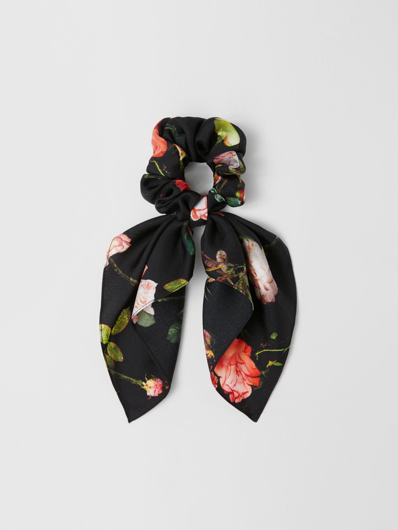 Rose Print Silk Twill Hair Tie in Multicolour