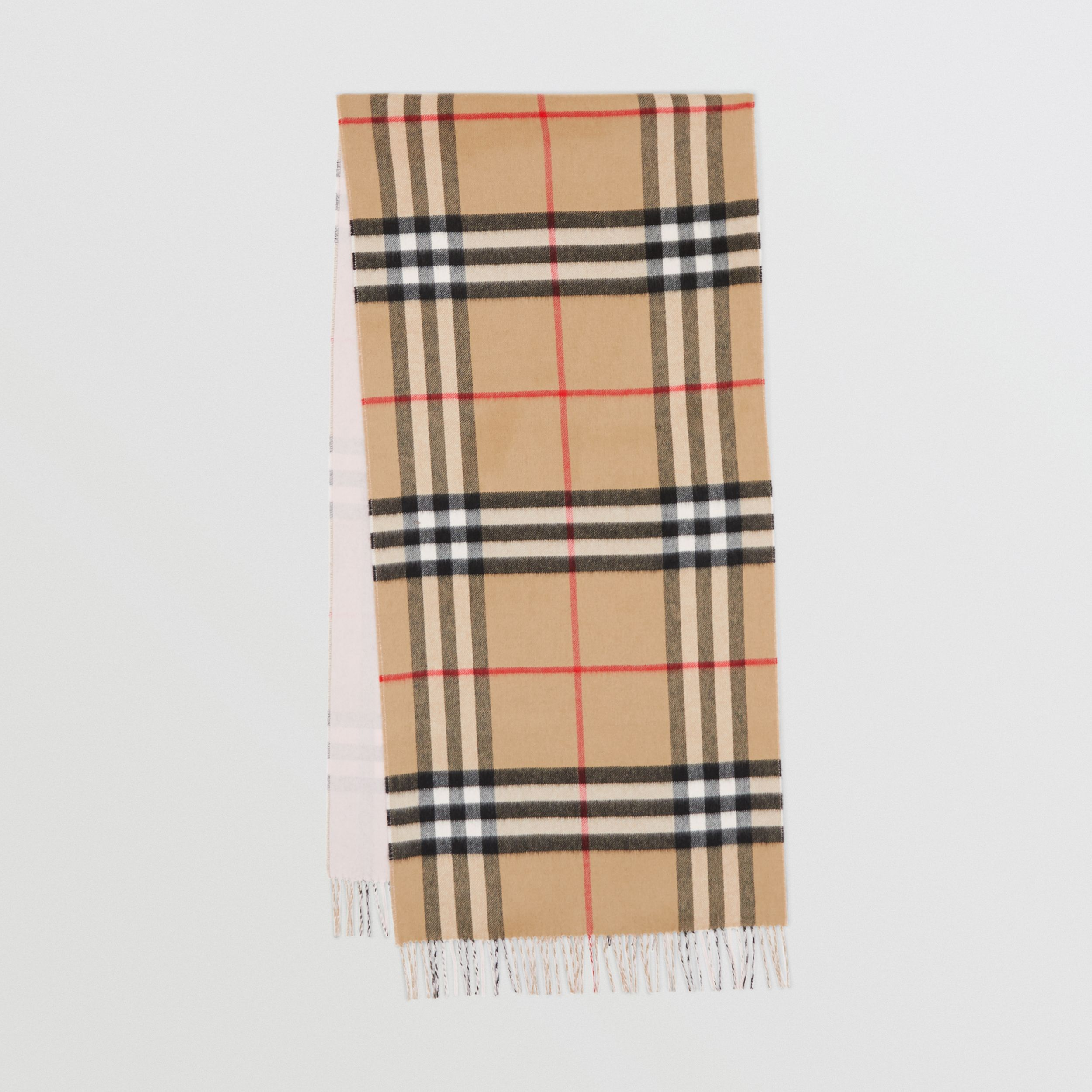 Reversible Check Cashmere Scarf in Frosted Pink | Burberry United States - 1