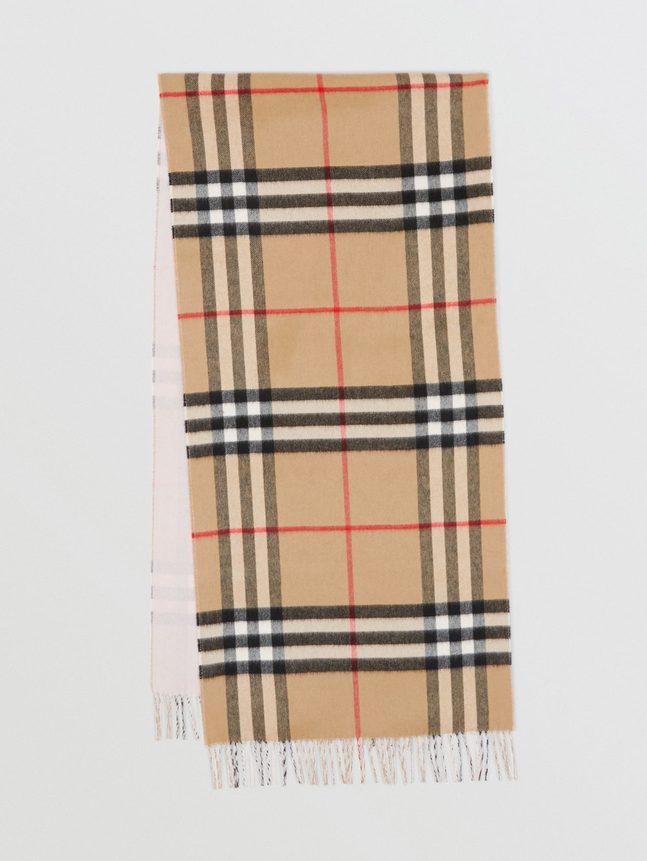 Reversible Check Cashmere Scarf in Frosted Pink
