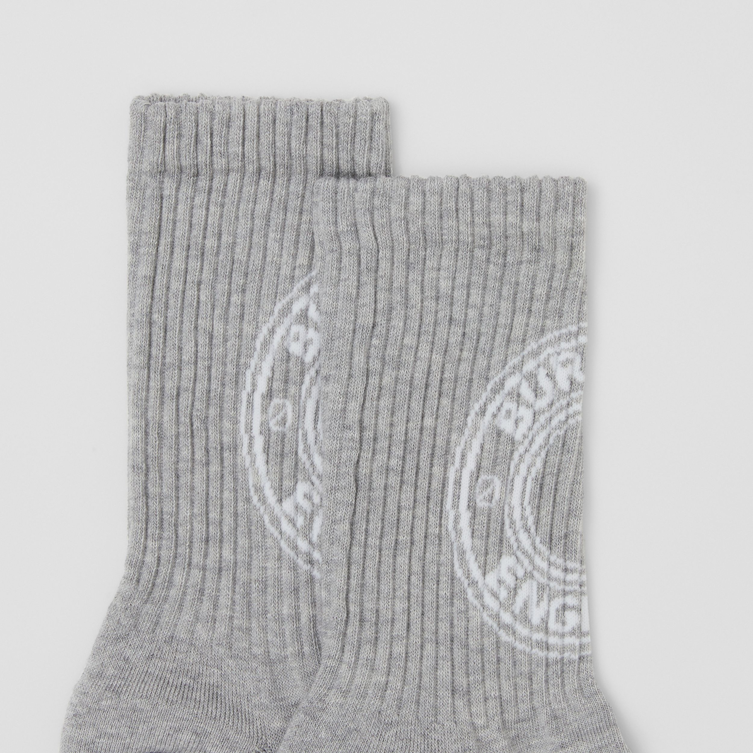 Logo Graphic Intarsia Technical Stretch Cotton Socks in Grey Melange | Burberry Hong Kong S.A.R. - 2
