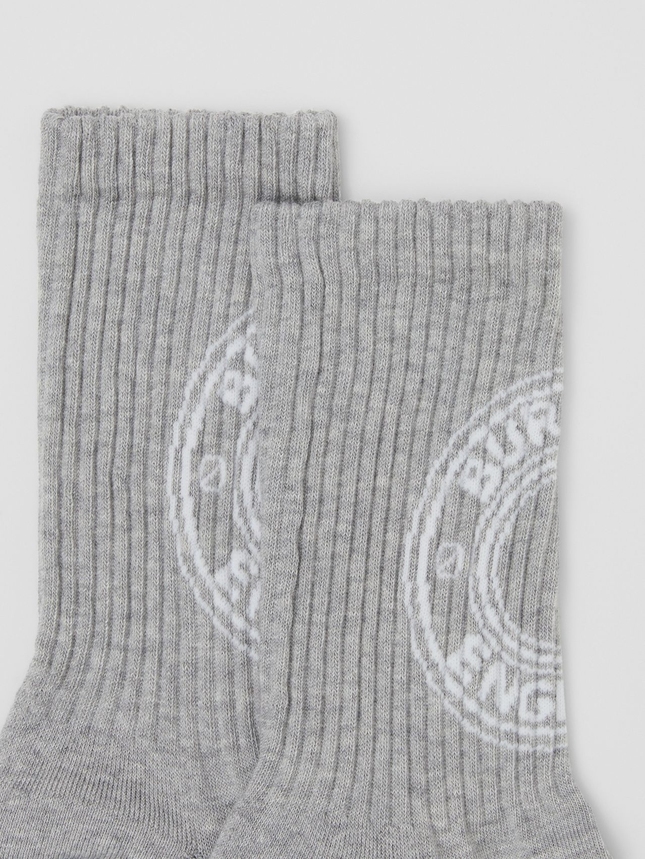Logo Graphic Intarsia Technical Stretch Cotton Socks in Grey Melange