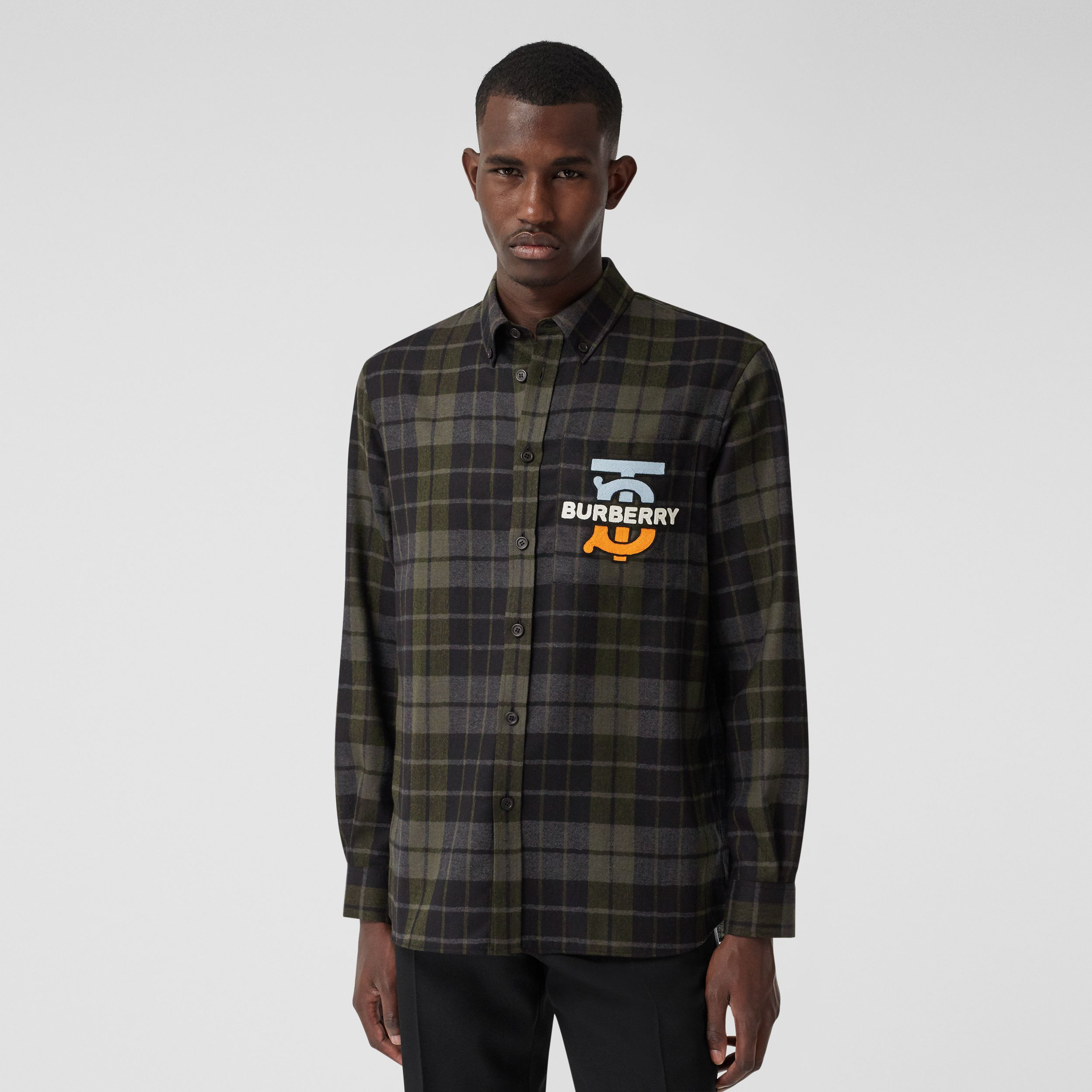 Monogram Motif Check Wool Flannel Oversized Shirt in Black - Men | Burberry - 1