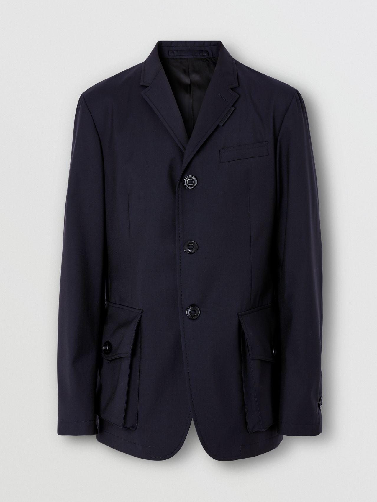 Bonded Wool Tailored Jacket in Navy