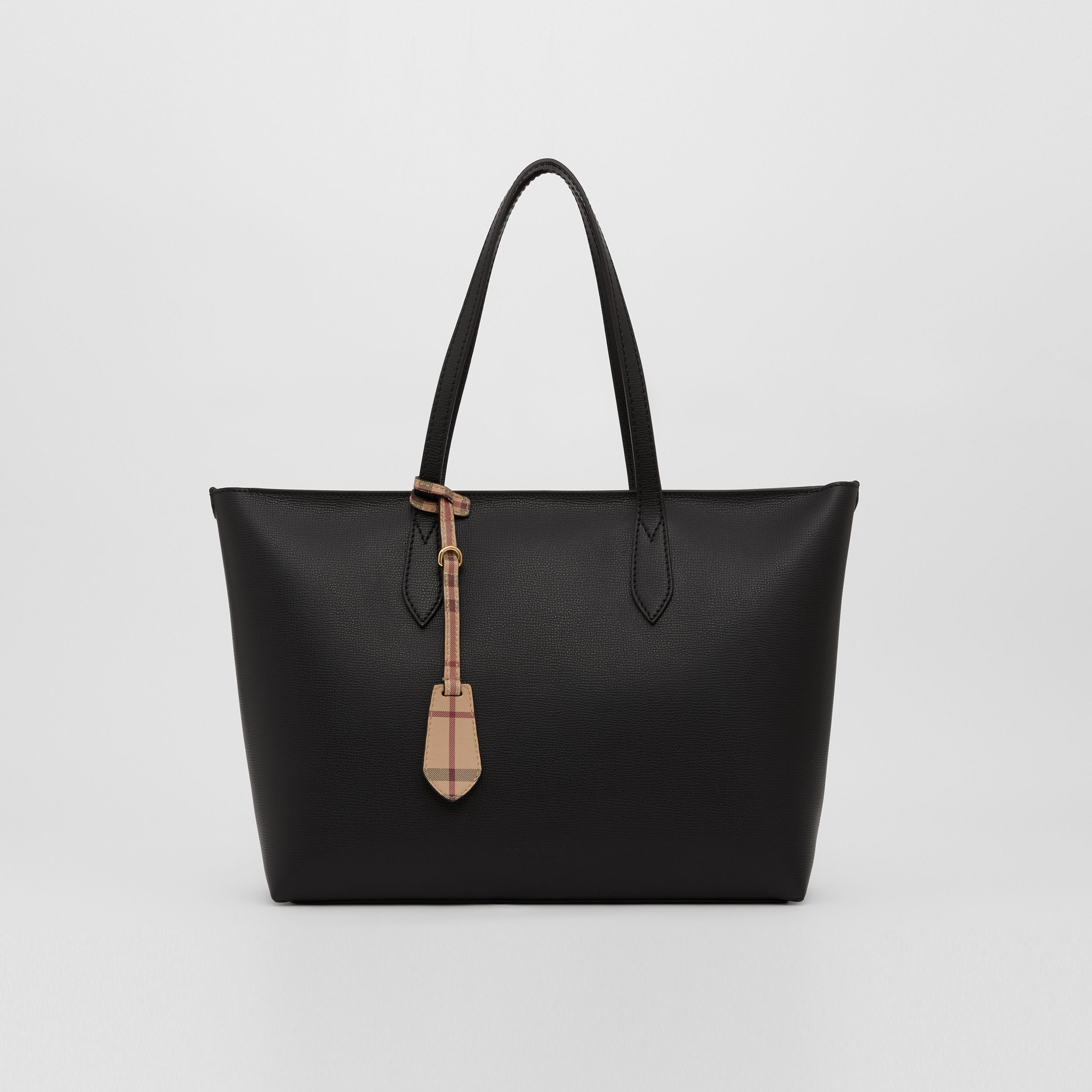 Medium Coated Leather Tote in Black - Women | Burberry - 1