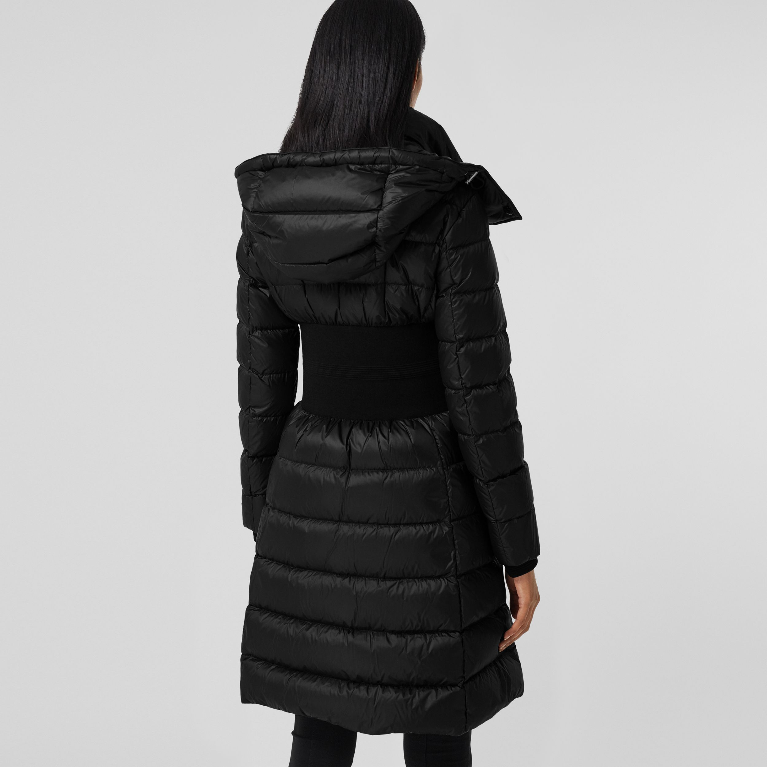 Detachable Hood Rib Knit Panel ECONYL® Puffer Coat in Black - Women | Burberry - 3