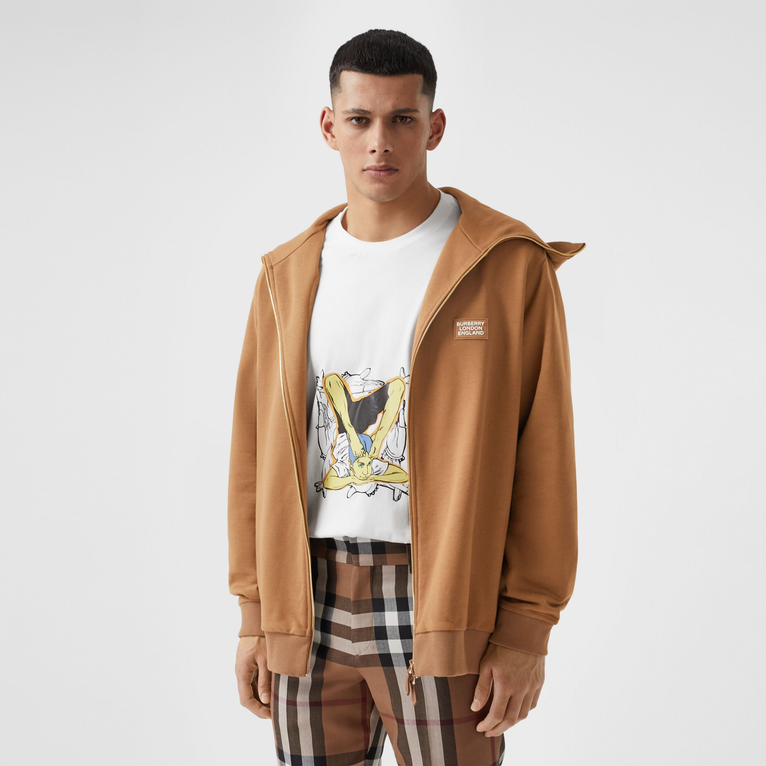 Logo Appliqué Cotton Funnel Neck Top in Fawn - Men | Burberry - 1