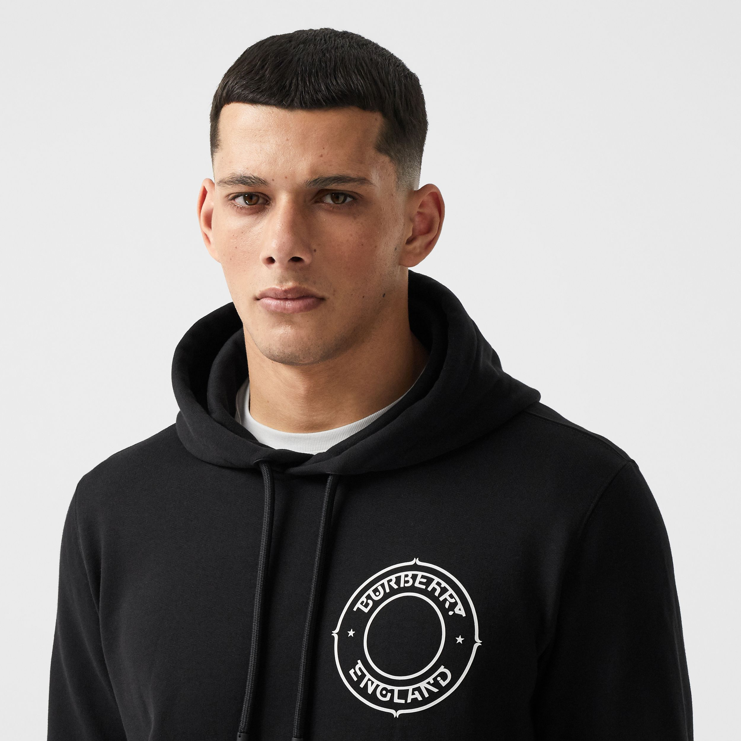 Logo Graphic Cotton Oversized Hoodie in Black - Men | Burberry - 2