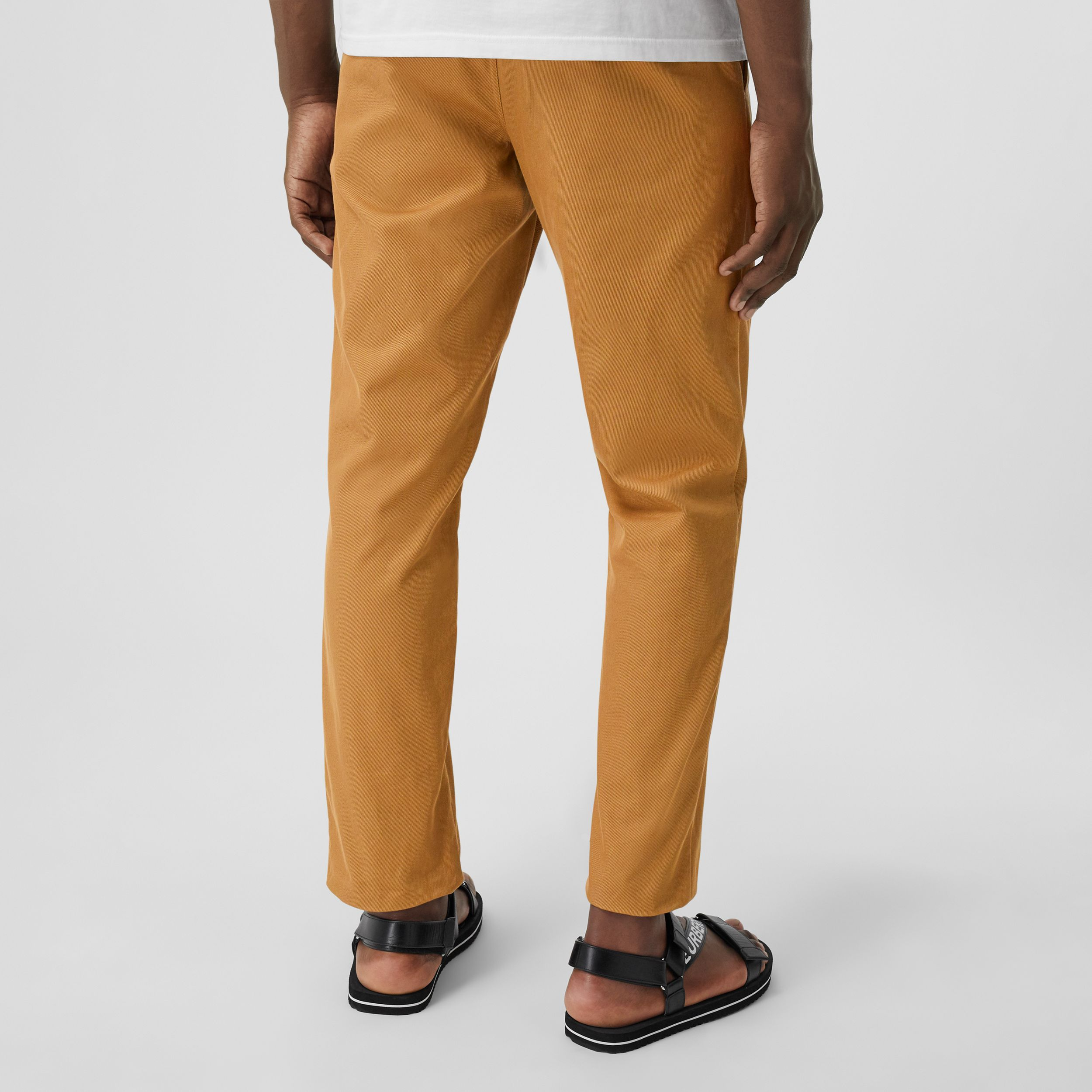Straight Fit Logo Detail Cotton Chinos in Camel - Men | Burberry - 3
