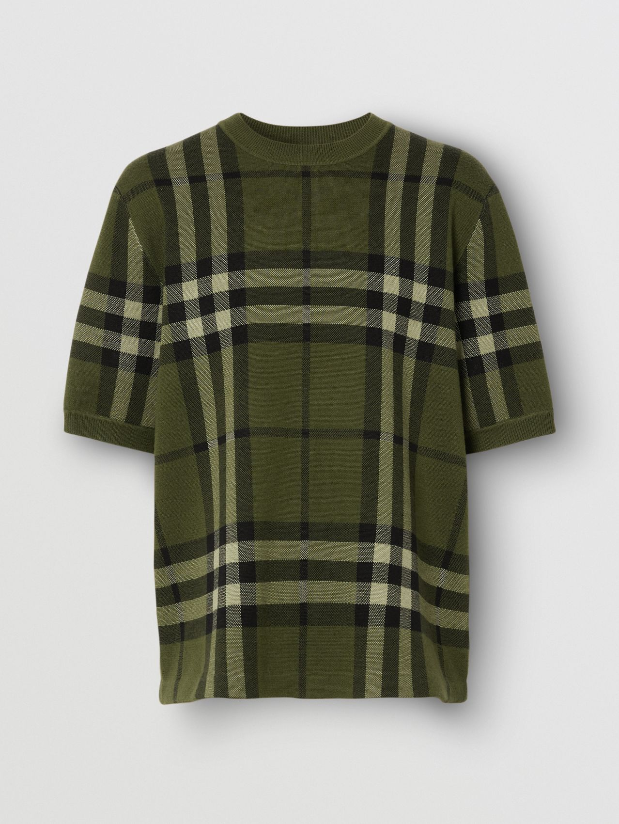 Short-sleeve Check Silk Wool Jacquard Top in Dark Forest Green