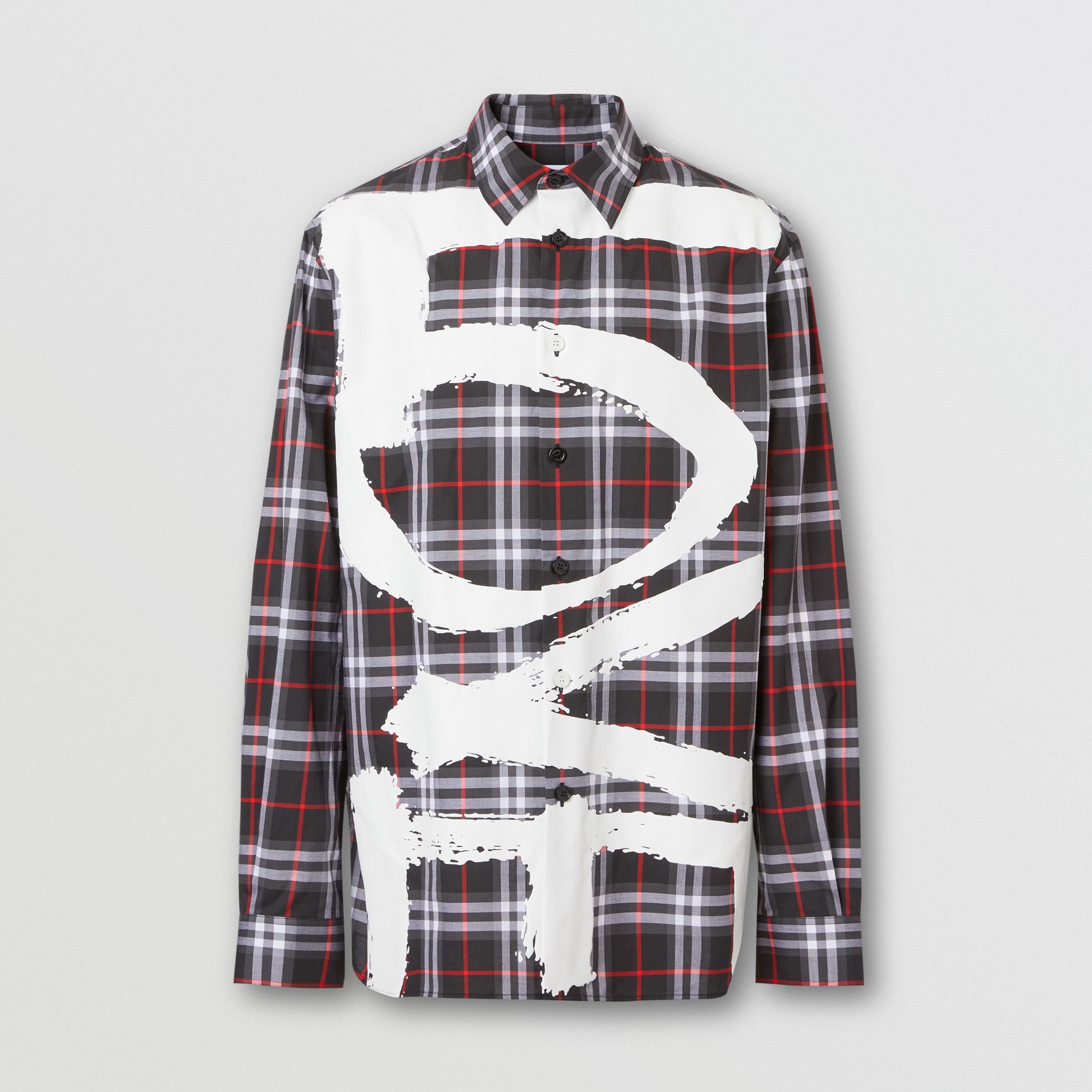 Love Print Vintage Check Cotton Shirt in Black - Men | Burberry - 4