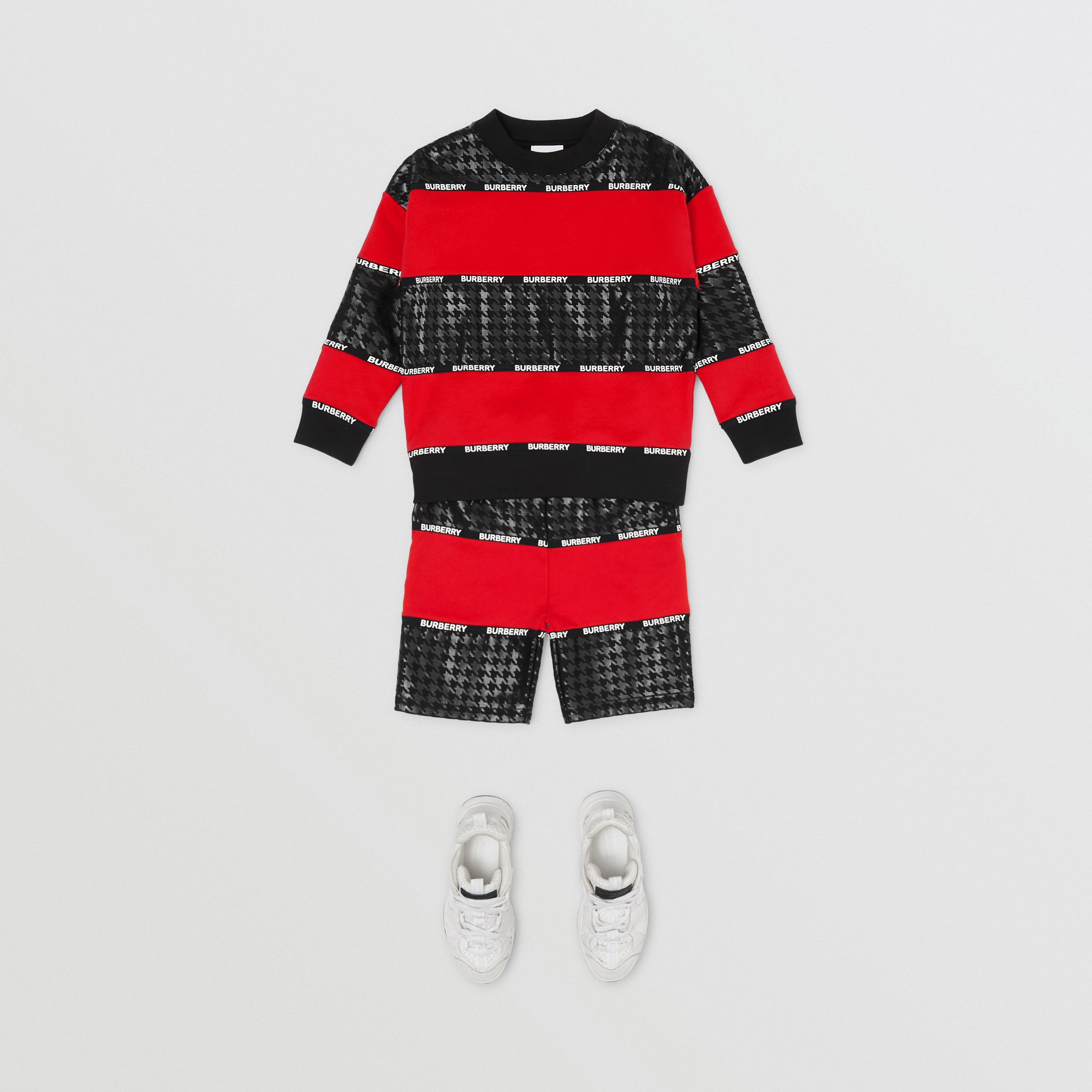 Sweat-shirt en coton avec check pied-de-poule (Rouge Vif) | Burberry Canada - 4